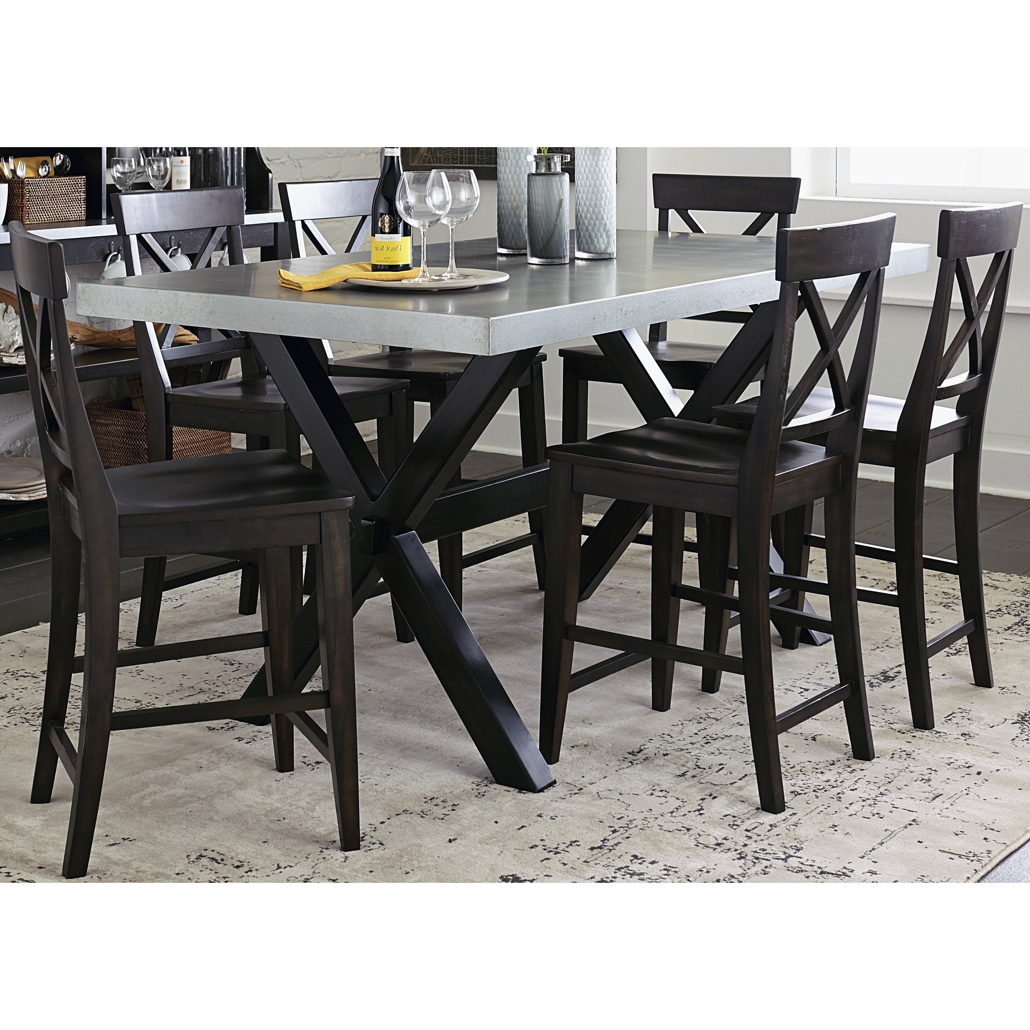 Pinot Side Chairs In Popular Shop Keaton Charcoal And Zinc Top Trestle Gathering Table – Espresso (View 11 of 20)
