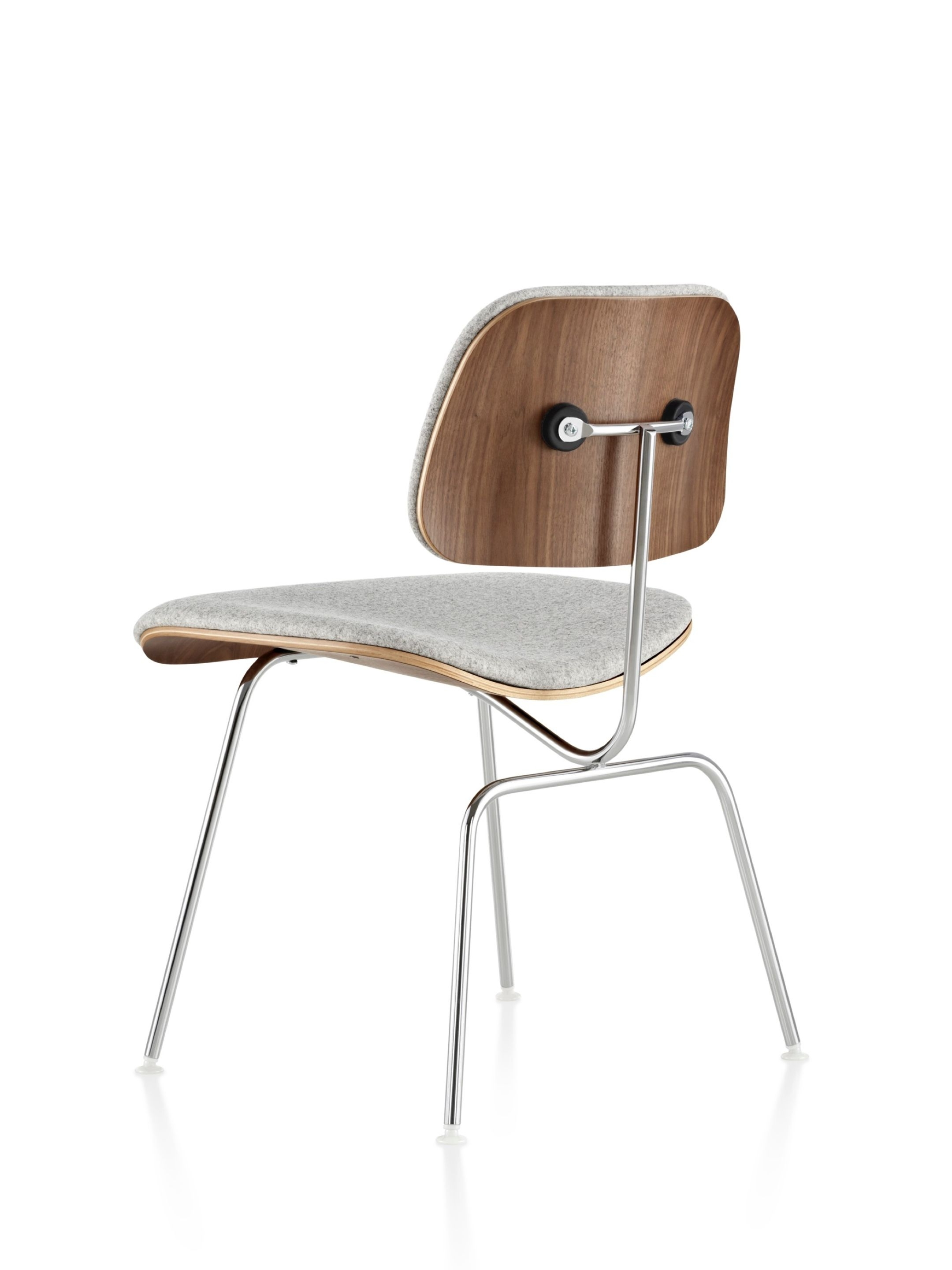 Plywood & Metal Brown Dining Chairs Inside Most Current Eames Molded Plywood Dining Chair With Metal Base Upholstered In (View 4 of 20)