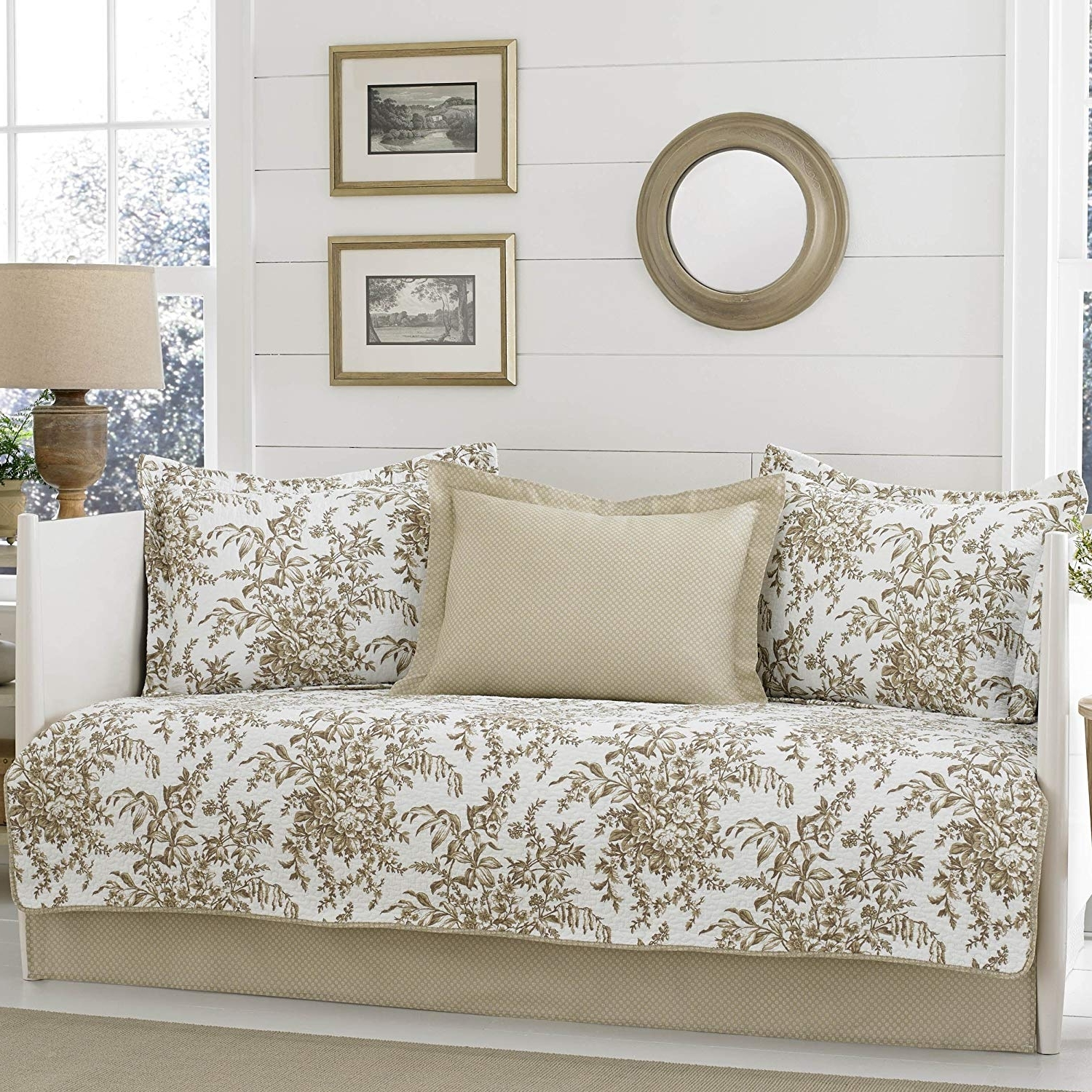 Preferred Amazon: Laura Ashley Bedford Daybed Set, Twin, Mocha: Home & Kitchen Regarding Garten Delft Skirted Side Chairs Set Of  (View 17 of 20)