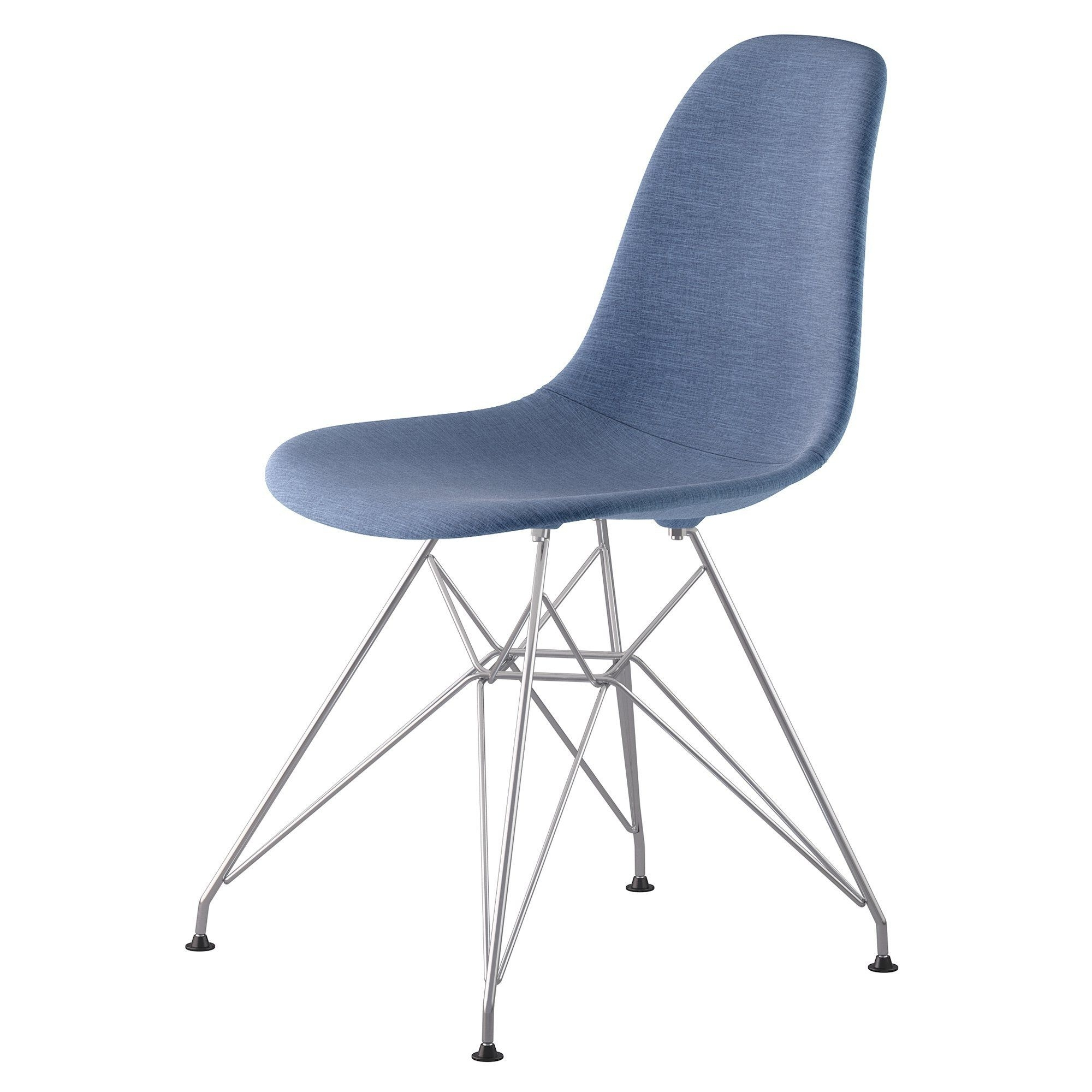 Preferred Mid Century Eiffel Side Chair In Dodger Blue Fabric With Brushed Within Dodger Side Chairs (View 14 of 20)
