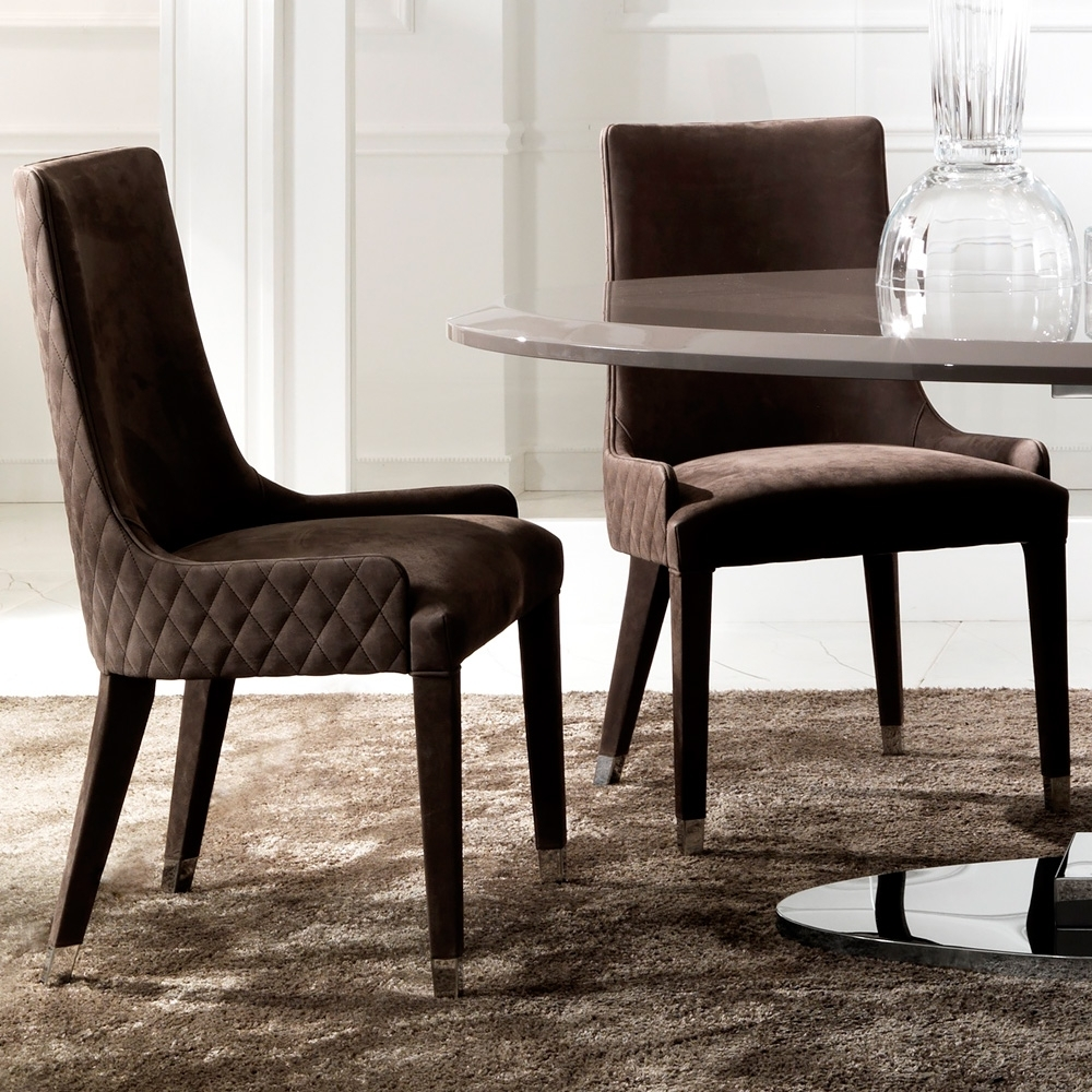 Quilted Brown Dining Chairs For 2018 Quilted Nubuck Leather Italian Dining Chair (View 9 of 20)