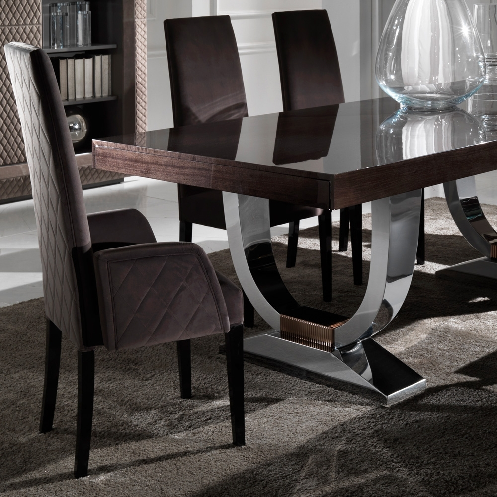 Quilted Brown Dining Chairs In 2018 Designer Italian Quilted High Backed Dining Chairs (View 10 of 20)