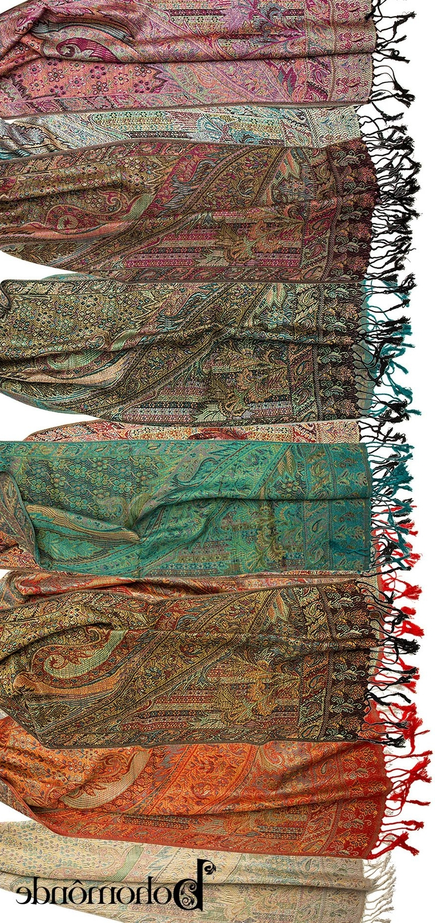 Rajana Scarf, Pashmina Indian Paisley Traditional Jacquard Scarf Within Most Recently Released Garten Pashmina Skirted Side Chairs Set Of 2 (Gallery 15 of 20)