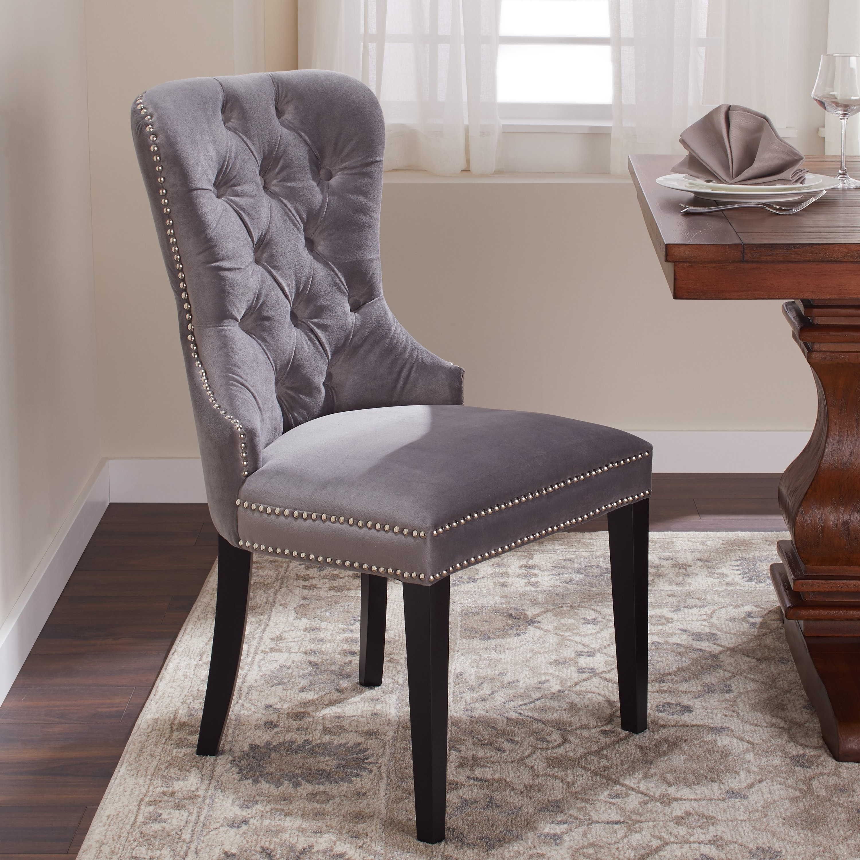 Recent Pilo Blue Side Chairs Within Shop Abbyson Versailles Grey Tufted Dining Chair – On Sale – Free (Gallery 16 of 20)