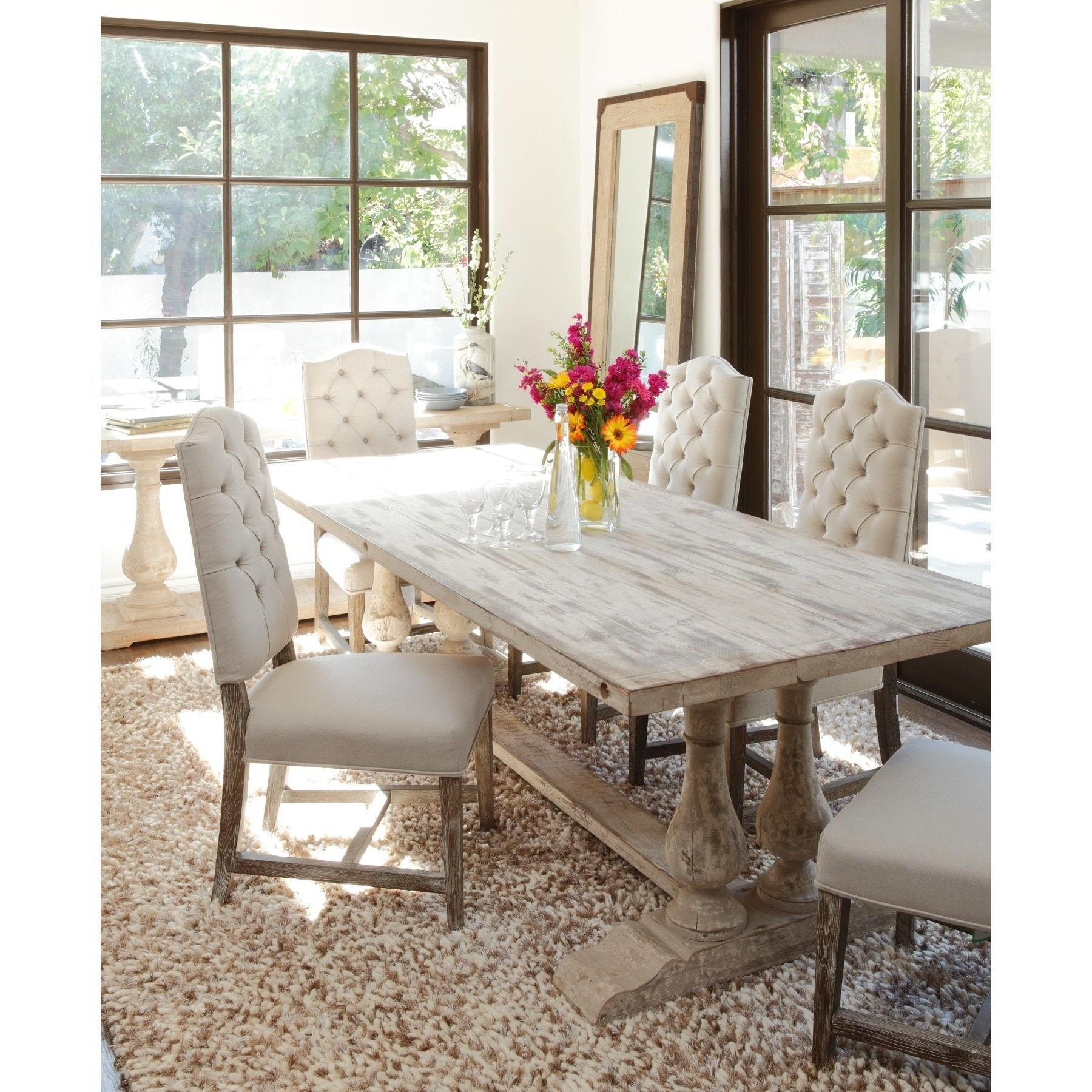 Recent Pine Wood White Dining Chairs Regarding Wilson Reclaimed Wood 98 Inch Dining Tablekosas Home (View 3 of 20)