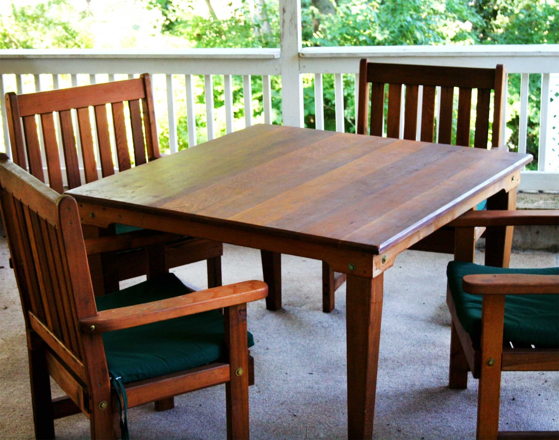 Red Cedar Square Patio Dining Set Pertaining To Most Up To Date Green Cedar Dining Chairs (View 14 of 20)