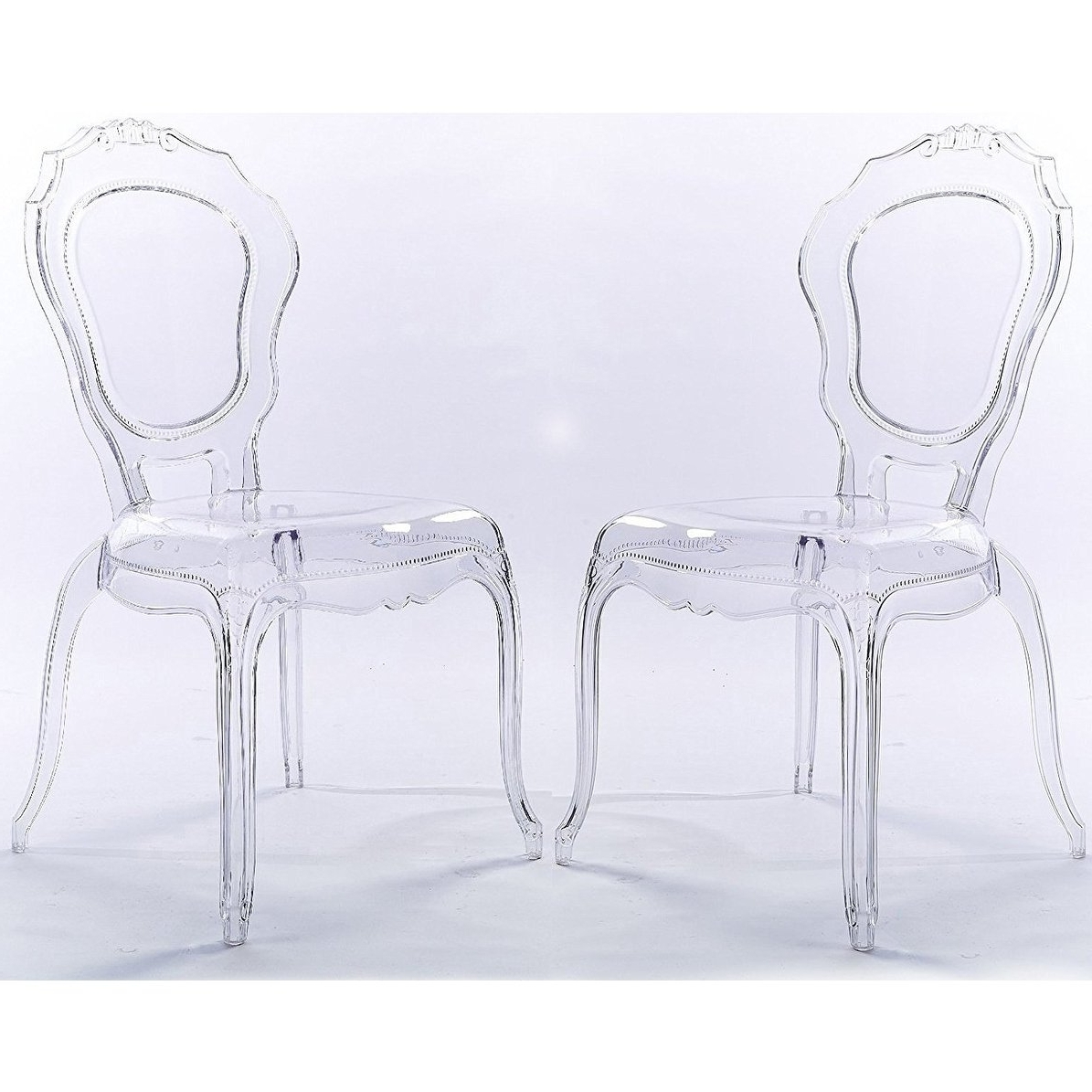 Shop 2Xhome Set Of 2 Clear Plastic Side Chairs Dining Chair Modern Regarding Most Recent Burton Metal Side Chairs With Wooden Seat (View 18 of 20)