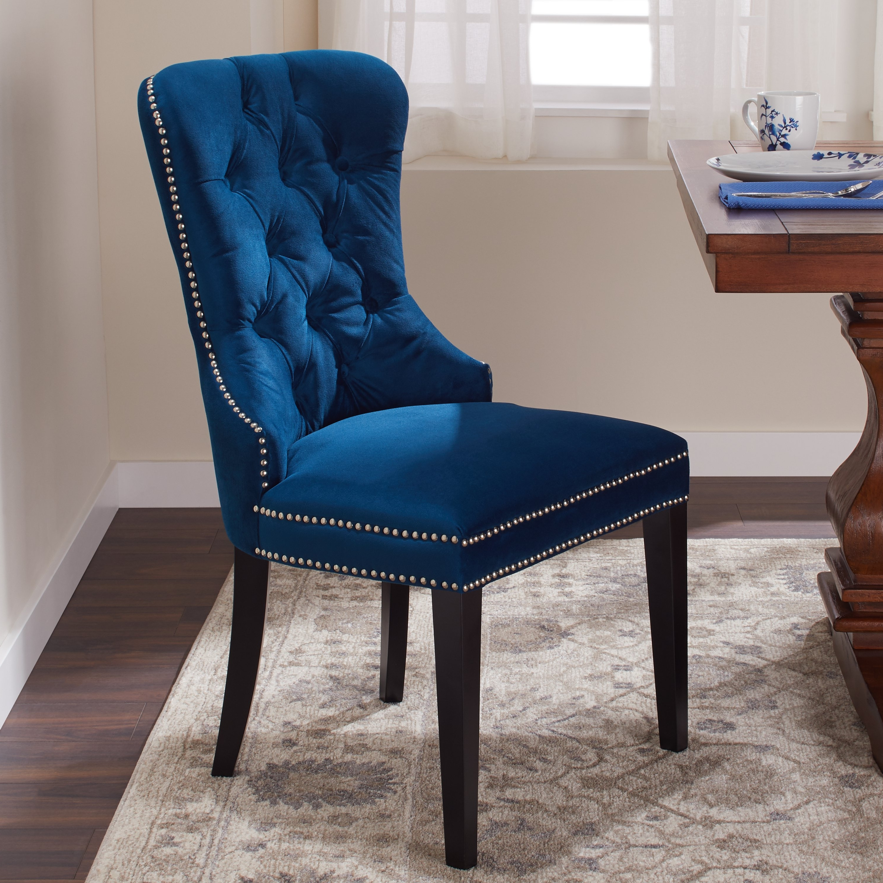 Shop Abbyson Versailles Blue Tufted Dining Chair – On Sale – Free With Most Current Pilo Blue Side Chairs (View 7 of 20)