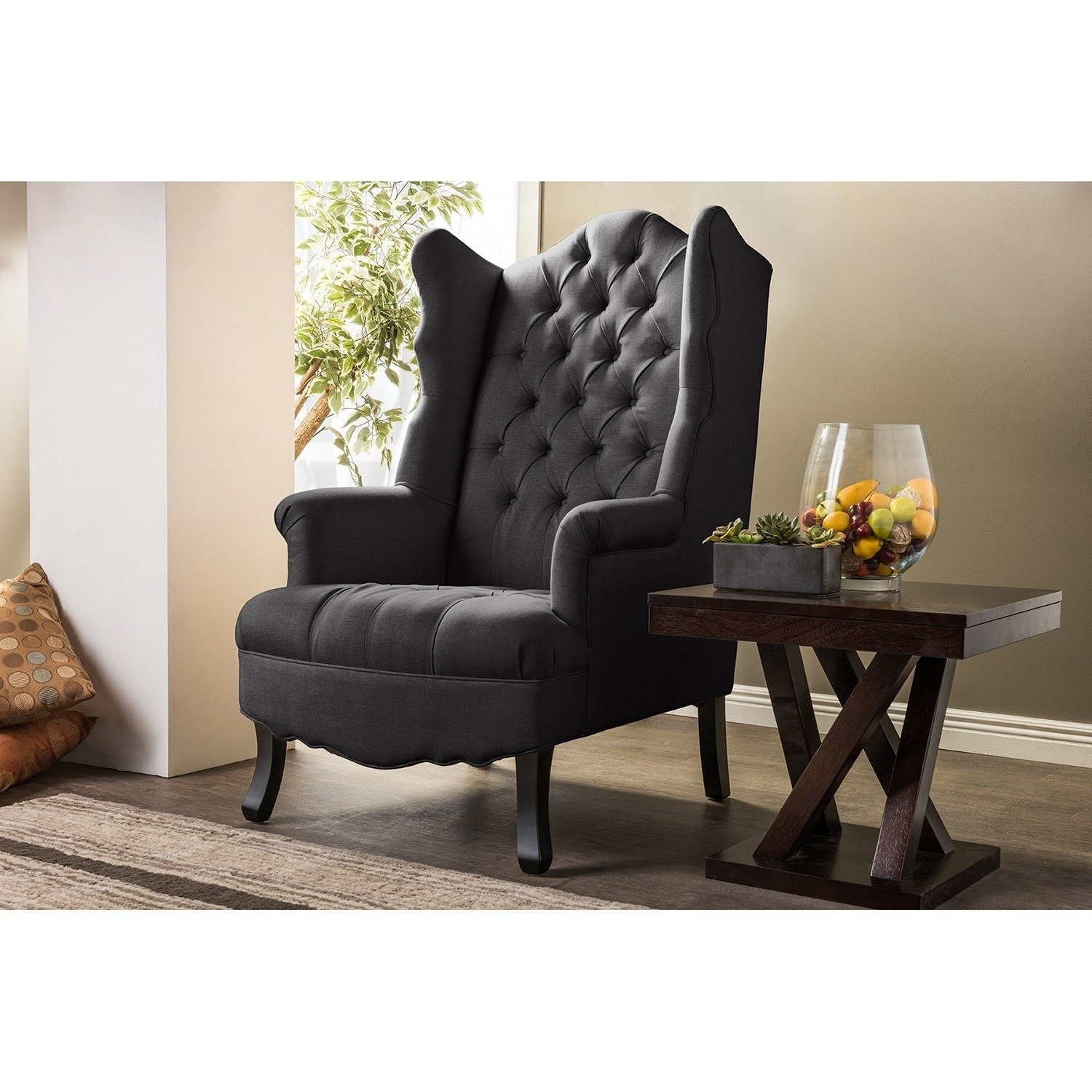 Shop Baxton Studio Norwood Grey Fabric Upholstered Wing Back Accent Inside 2018 Norwood Upholstered Side Chairs (View 4 of 20)