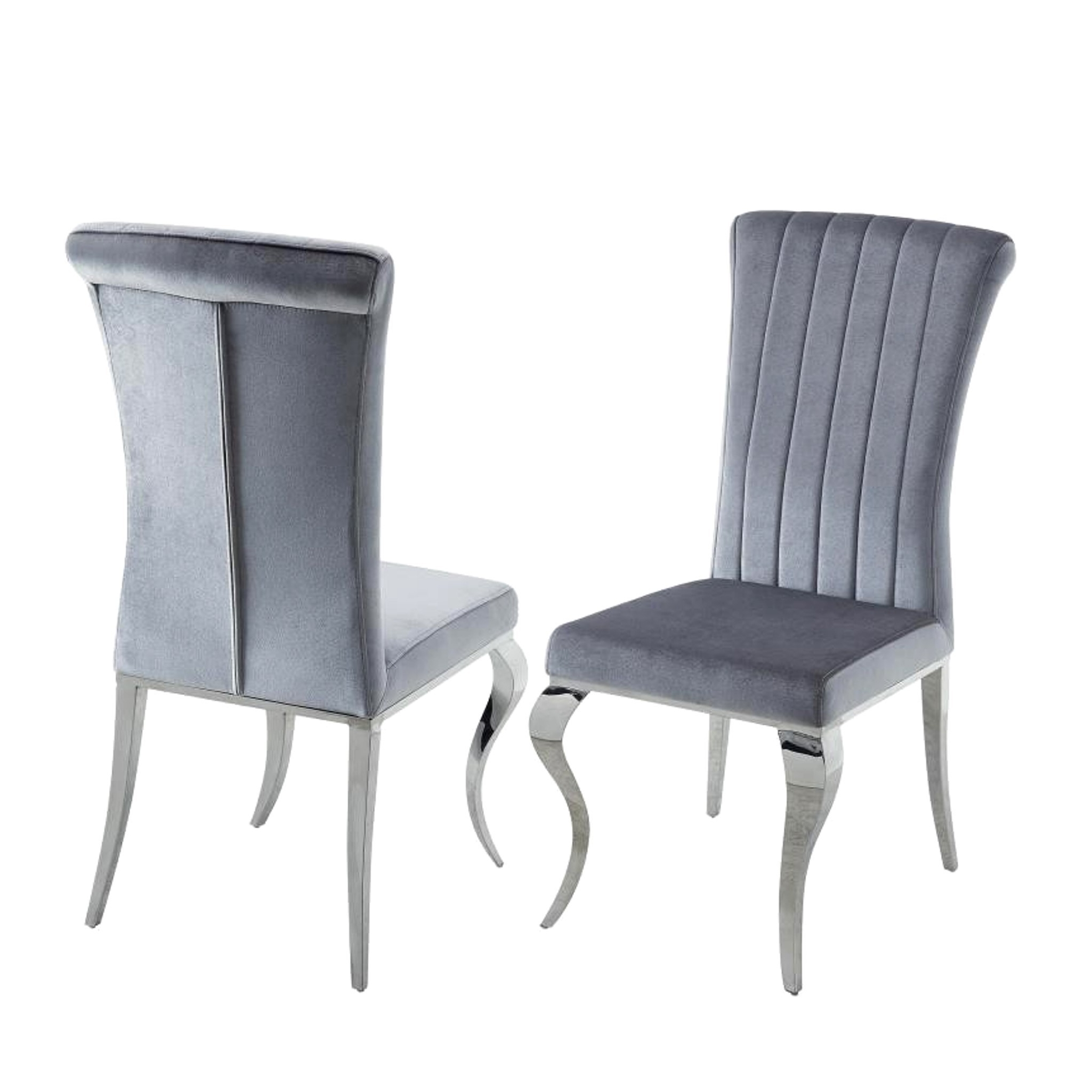 Shop Cabriole Design Stainless Steel With Grey /silver Velvet Dining In Favorite Pilo Grey Side Chairs (View 4 of 20)