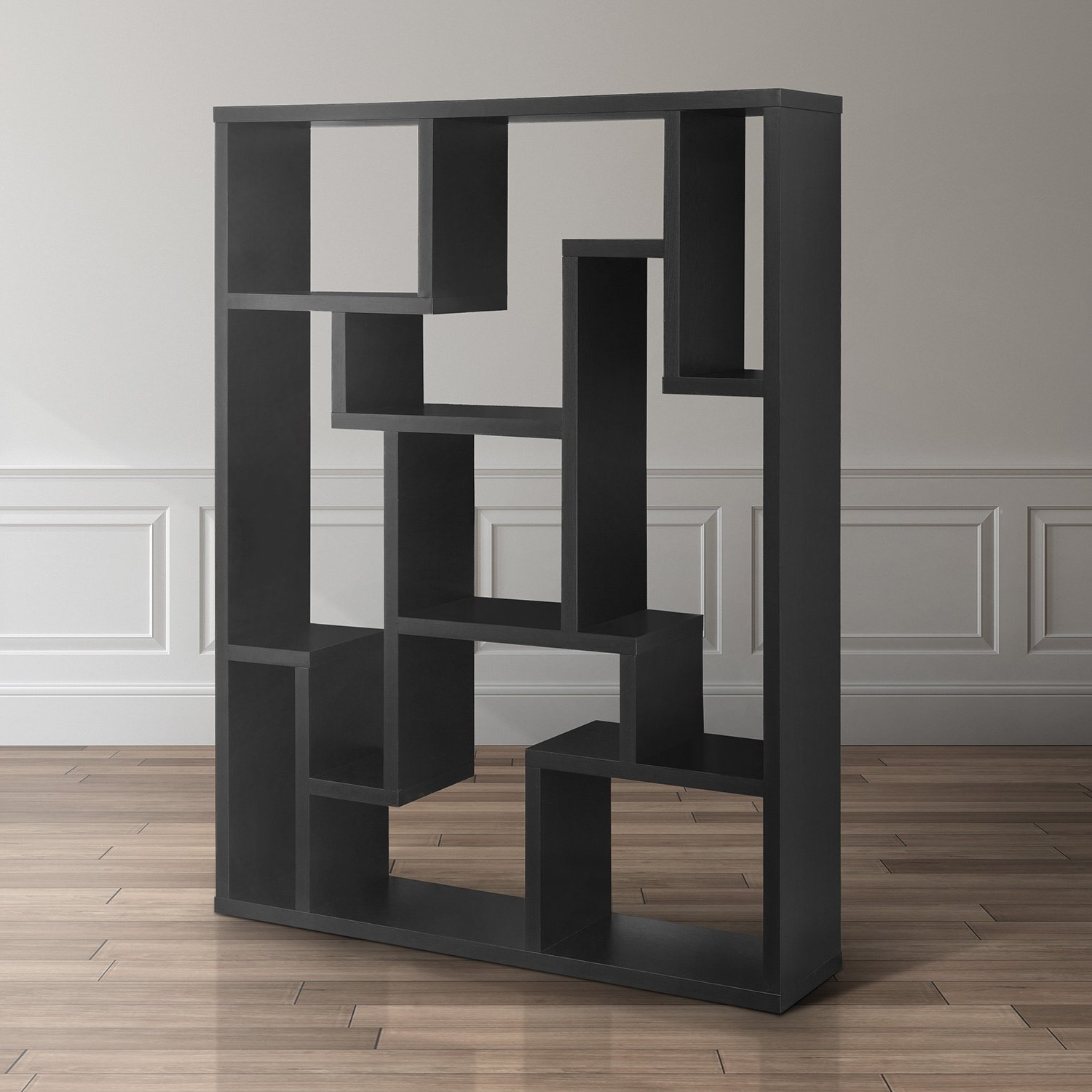 Shop Furniture Of America Mandy Black Bookcase / Room Divider – On Regarding Latest Mandy Paper White Side Chairs (View 13 of 20)