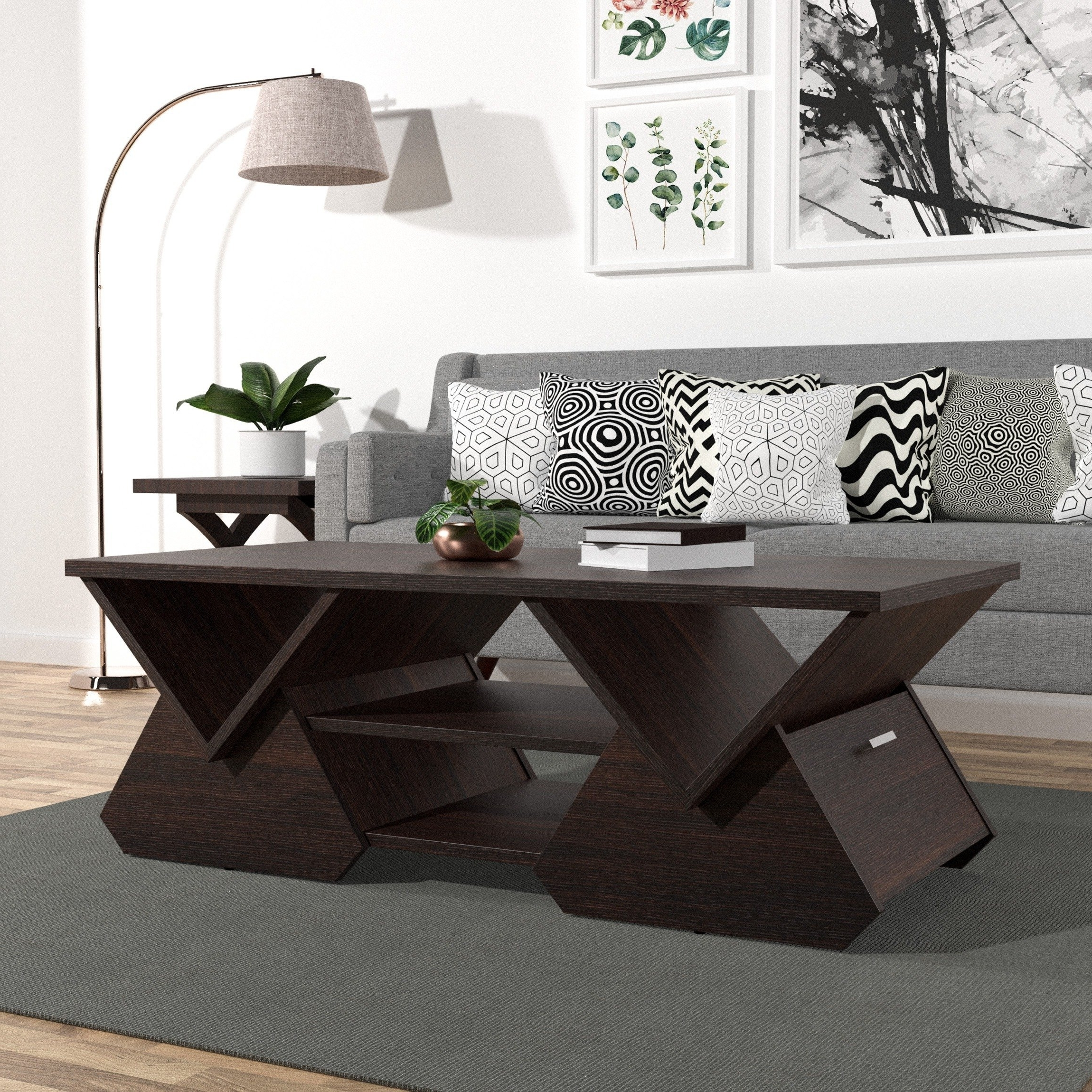Shop Furniture Of America Melika Espresso Geometric Coffee Table With Most Recently Released Garten Storm Chairs With Espresso Finish Set Of (View 4 of 20)