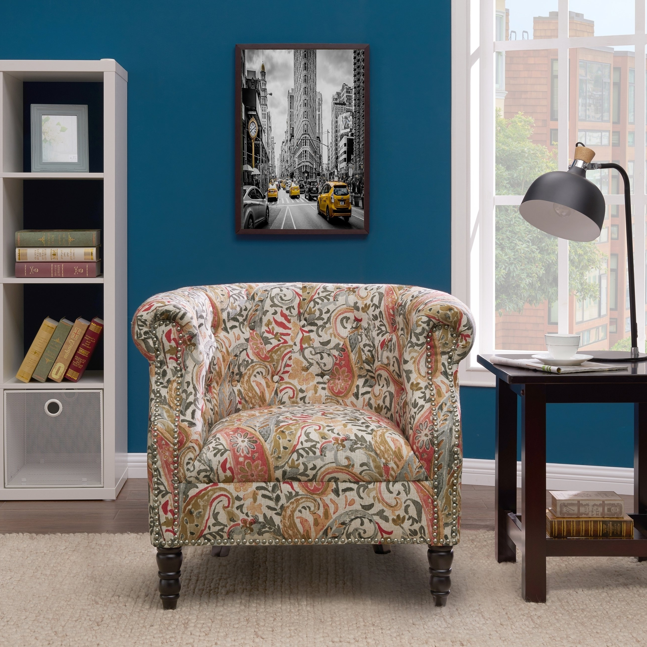 Shop Handy Living Chesterfield Multi Coral Paisley Arm Chair – On Pertaining To Best And Newest Cora Ii Arm Chairs (View 19 of 20)