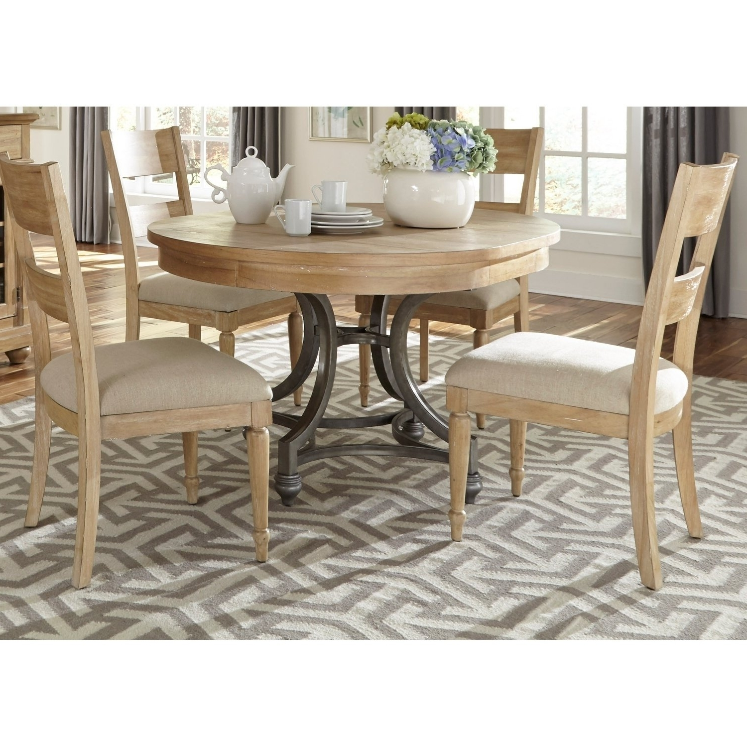 Shop Harbor View Sand 5 Piece Round Table Set – On Sale – Free Inside Most Up To Date Mindy Slipcovered Side Chairs (View 17 of 20)