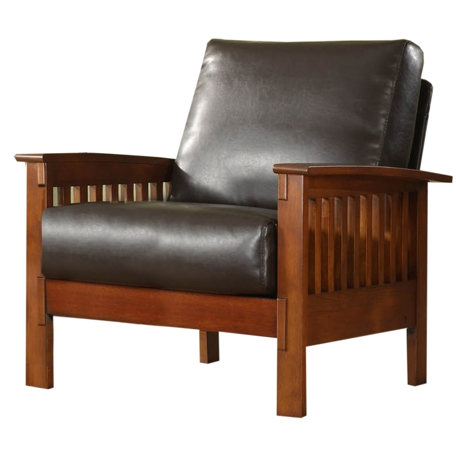 Shop Home Sonata Modern Oak Faux Leather Accent Chair At Lowes Inside Newest Craftsman Arm Chairs (View 16 of 20)