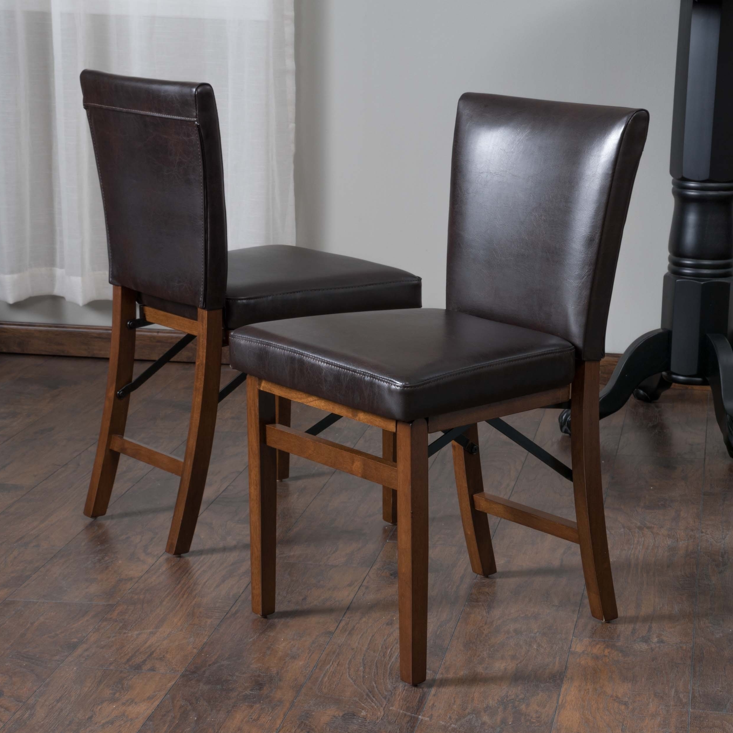 Shop Lane Bonded Leather Folding Dining Chair (Set Of 2) Intended For Most Up To Date Caira Black Upholstered Diamond Back Side Chairs (View 17 of 20)