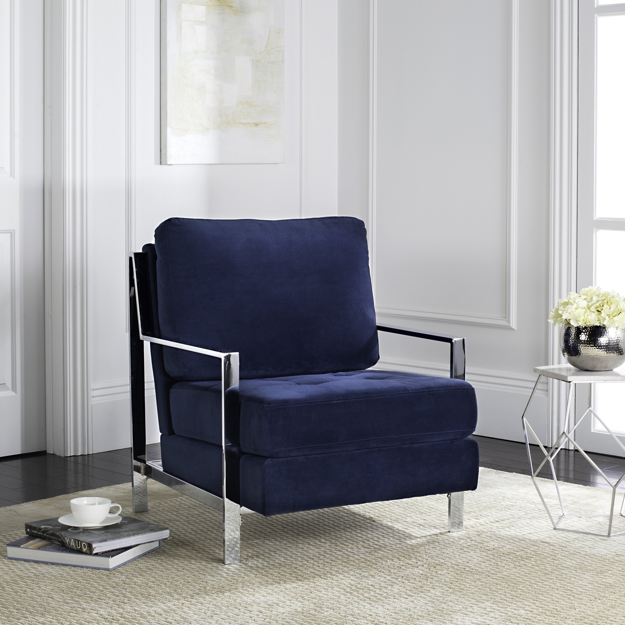 Shop Mid Century Modern Glam Velvet Navy Blue Club Chair – Free In Most Recent Walden Upholstered Side Chairs (View 8 of 20)