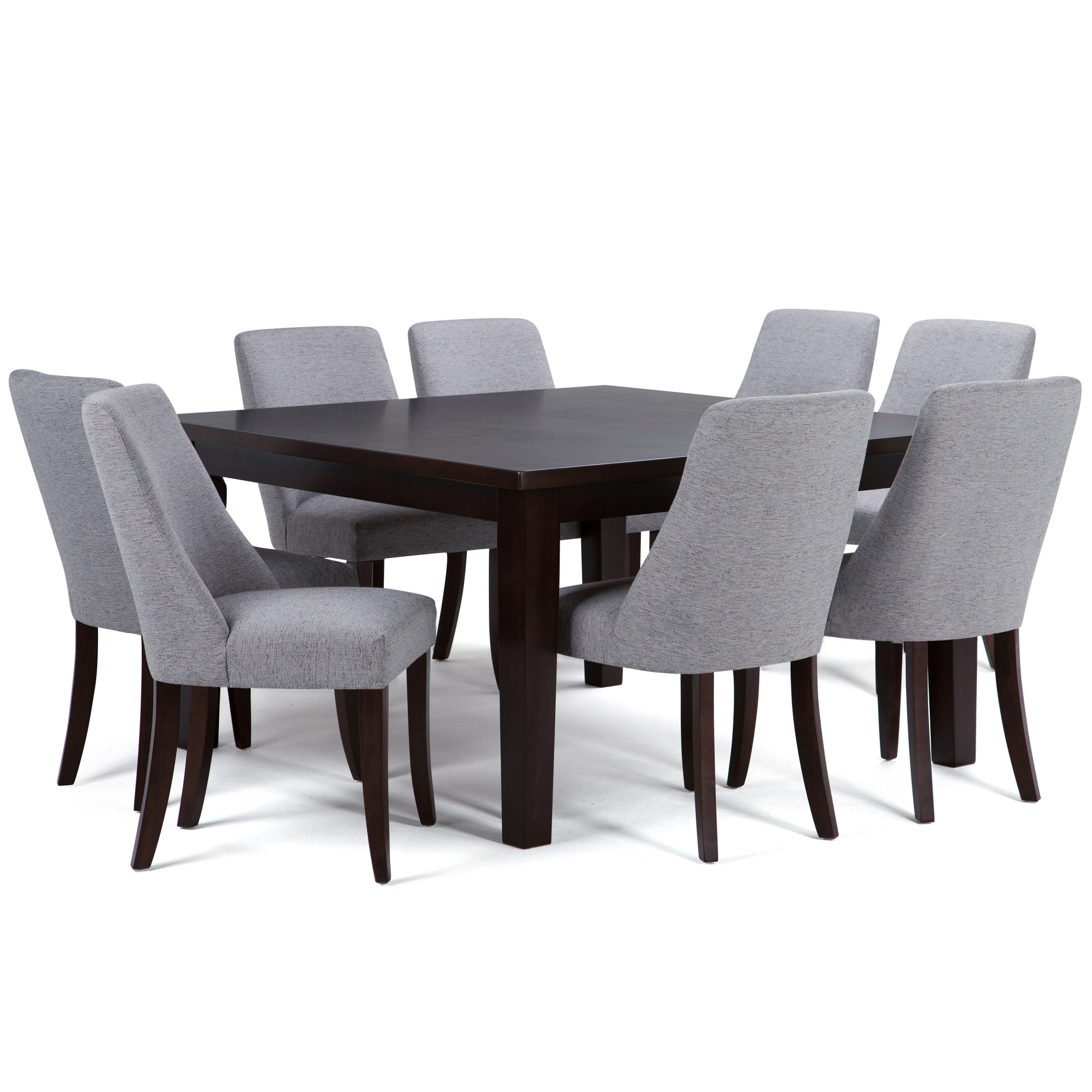 Simpli Home Walden 9 Piece Solid Wood Dining Set (View 9 of 20)