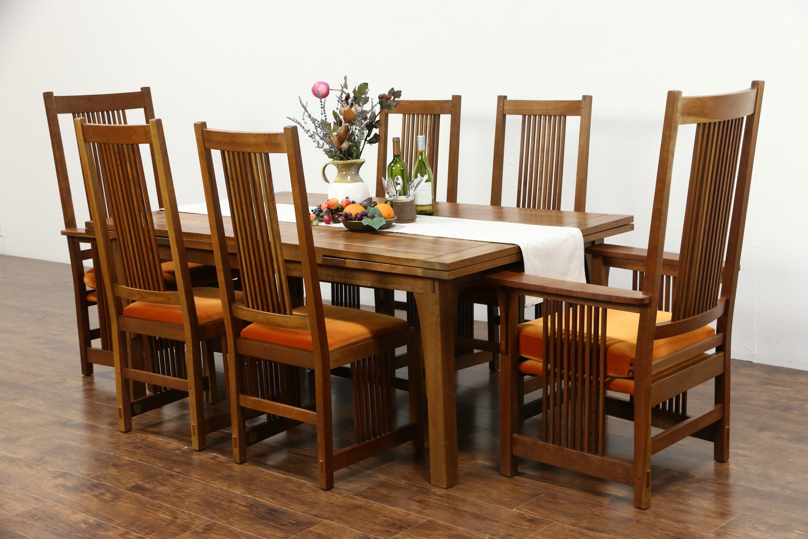 Sold – Stickley Signed Cherry Craftsman Design 1995 Dining Set With Regard To Most Popular Craftsman Upholstered Side Chairs (View 19 of 20)