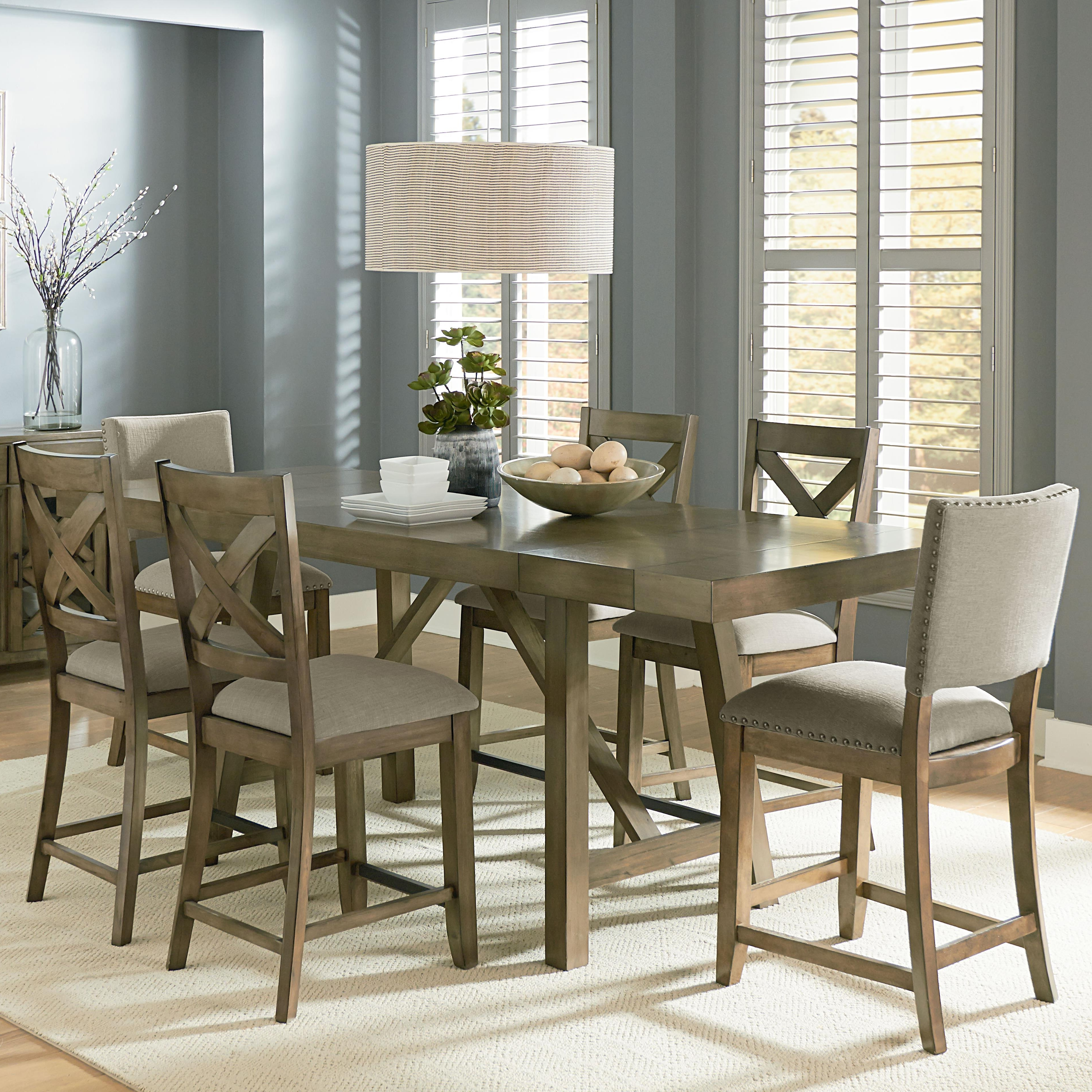 Standard Furniture Omaha Grey Counter Height 7 Piece Dining Room Throughout Fashionable Magnolia Home Hamilton Saddle Side Chairs (View 16 of 20)