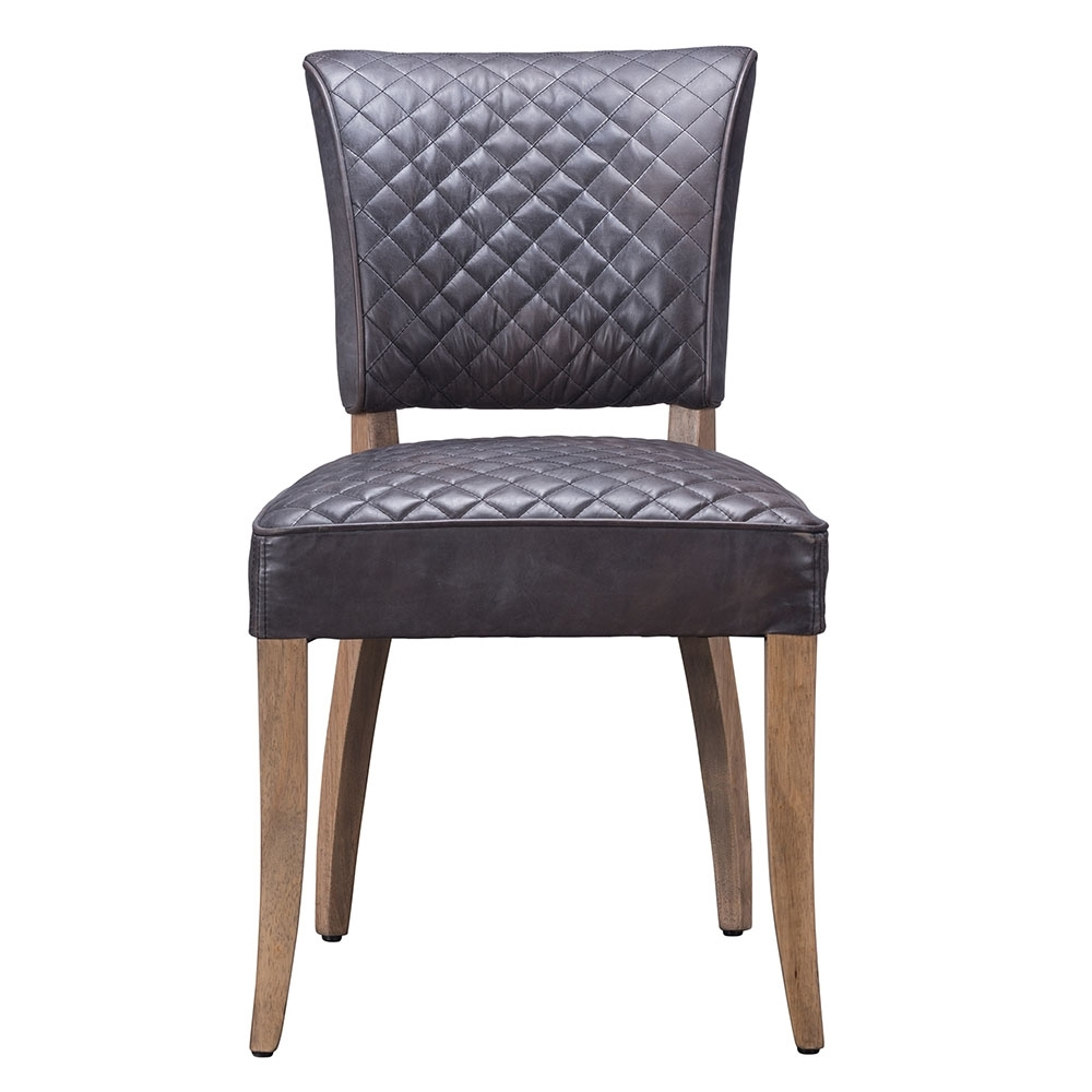 Timothy Oulton Mimi Destroyed Leather Quilted Dining Chair, Black In Most Up To Date Quilted Black Dining Chairs (View 18 of 20)