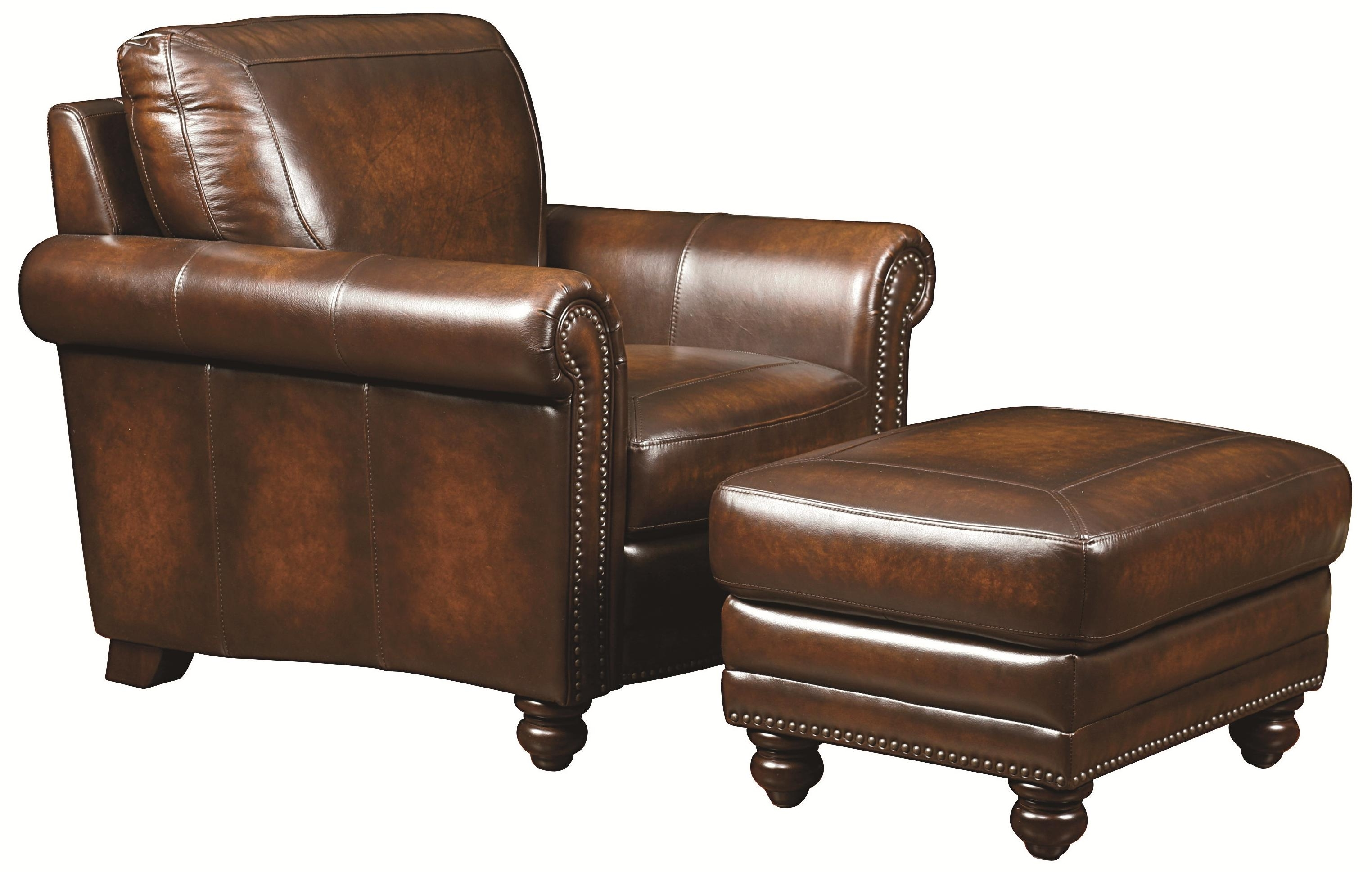 Traditional Leather Chair And Ottoman With Nail Head Trim – Hamilton For Widely Used Magnolia Home Hamilton Saddle Side Chairs (View 19 of 20)