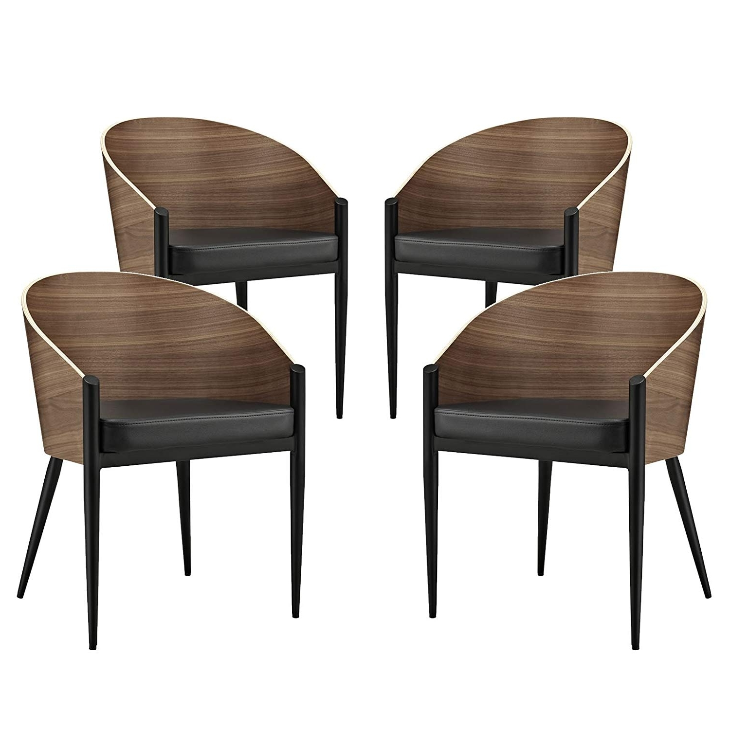 Trendy Amazon – Modway Cooper Dining Chairs Set Of 4 In Walnut – Chairs Within Cooper Upholstered Side Chairs (View 17 of 20)