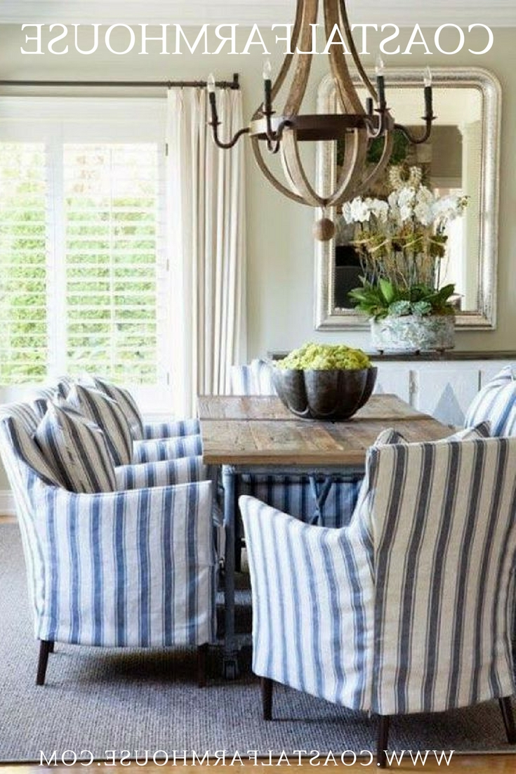 Trendy Blue Stripe Dining Chairs In Coastal Farmhouse (View 17 of 20)