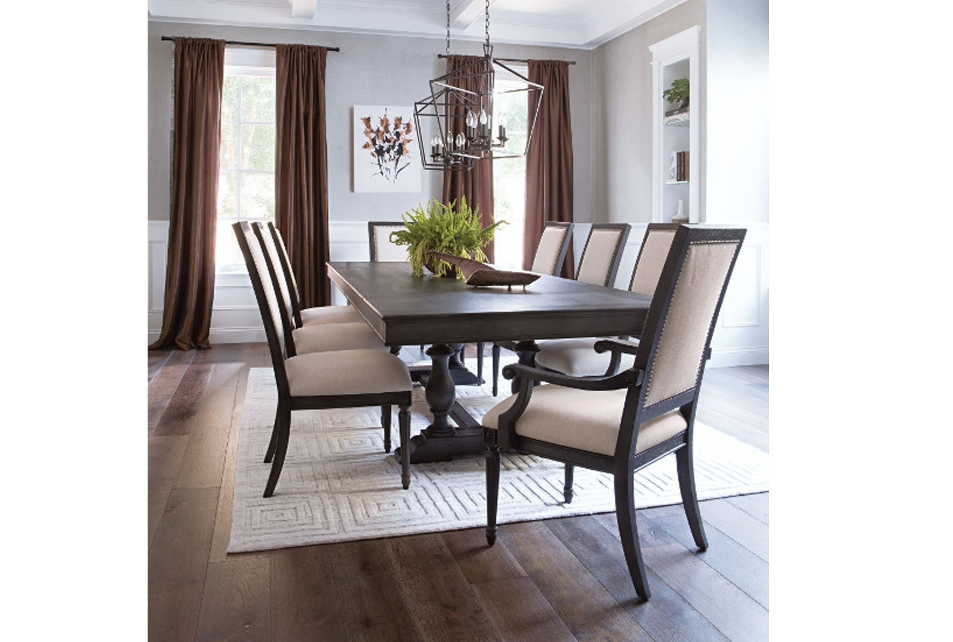 Trendy Chapleau 9 Piece Extension Dining Set, Off White For Chapleau Ii Arm Chairs (View 17 of 20)