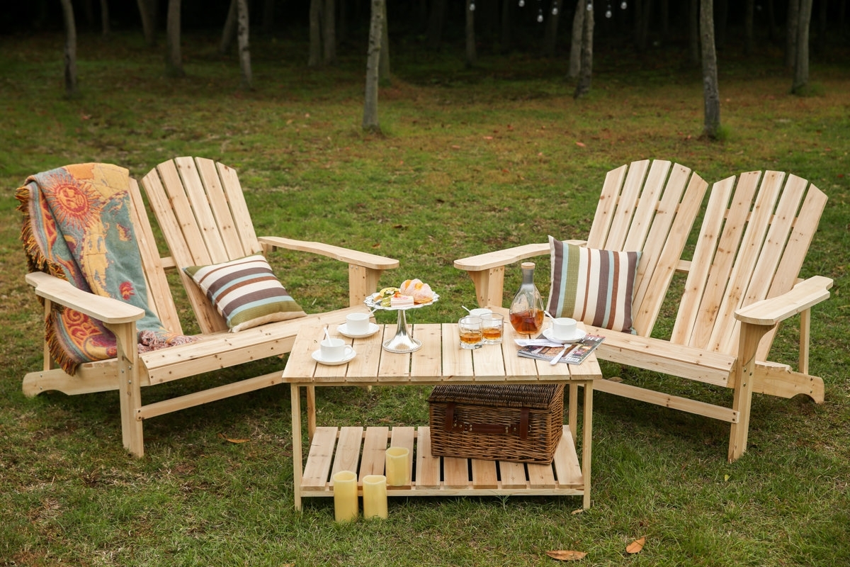 Trendy Grady Side Chairs Inside Loon Peak Ogrady 3 Piece Double Adirondack Chair And Table Set (View 20 of 20)