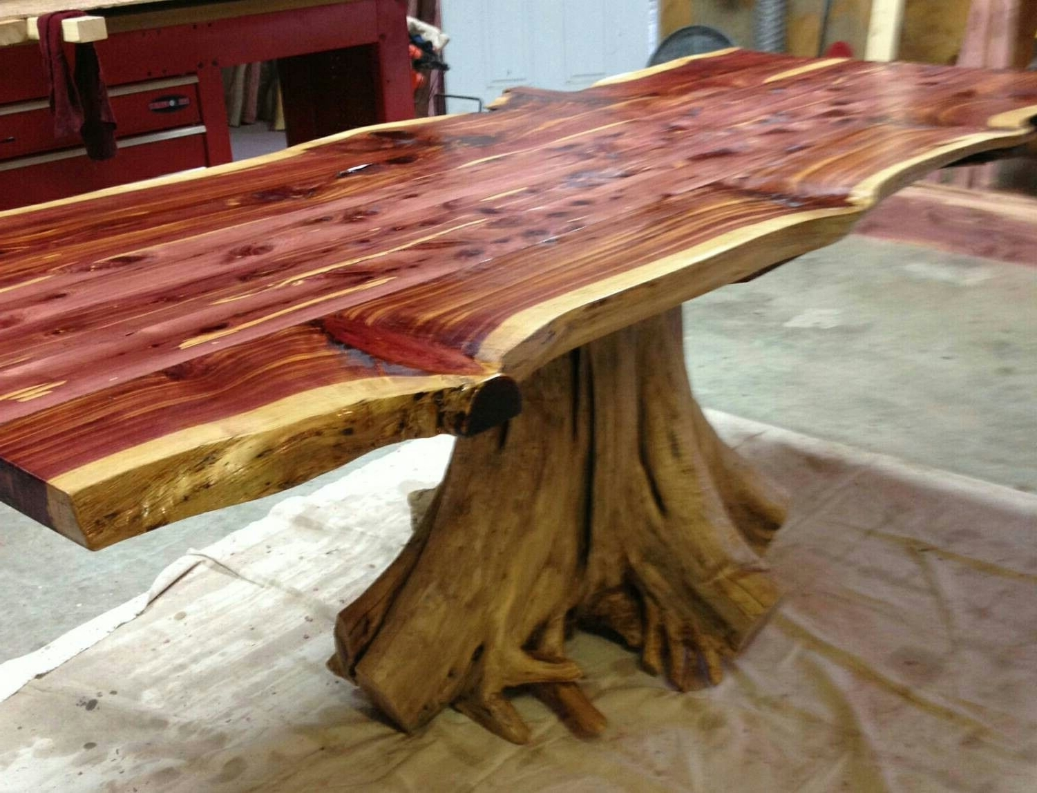 Trendy Live Edge Cedar Stump Dining Table (View 8 of 20)