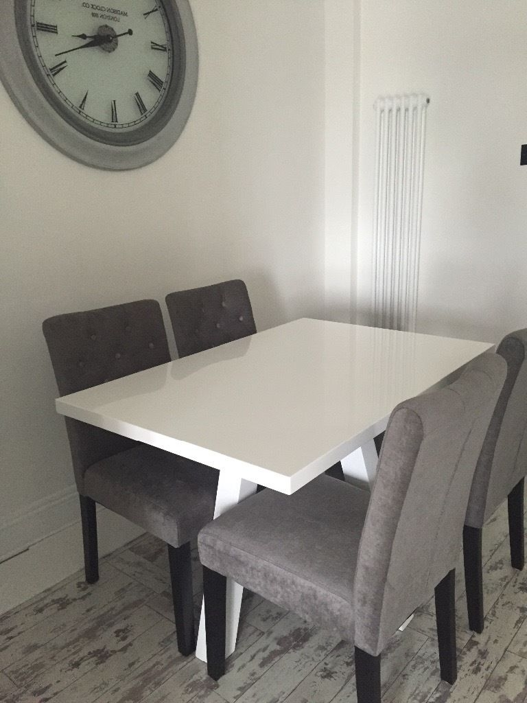 Trendy Moda Grey Side Chairs For Next Moda 4 Velvet Silver/grey Dining Chairs Only 8Month Old Rrp (View 19 of 20)