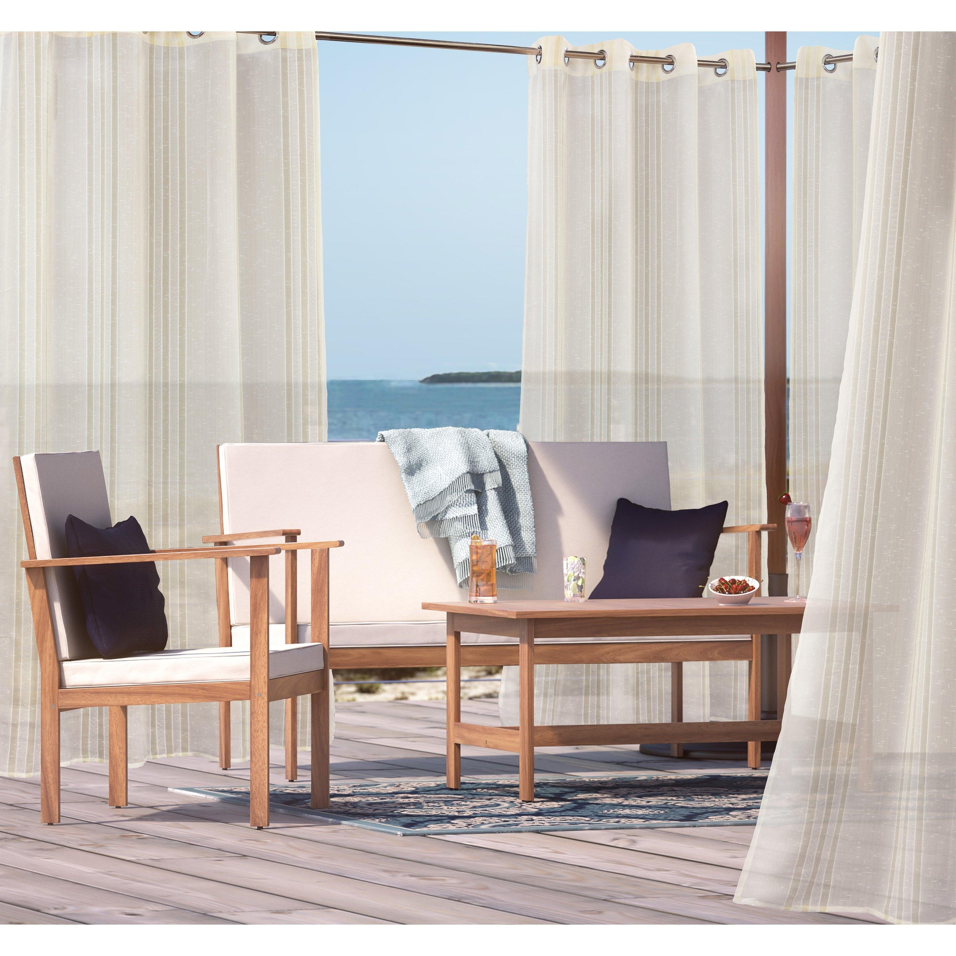 Trendy Outdoor Decor Macie Semi Sheer Metallic Grommet Top Outdoor Drape Within Macie Side Chairs (View 17 of 20)