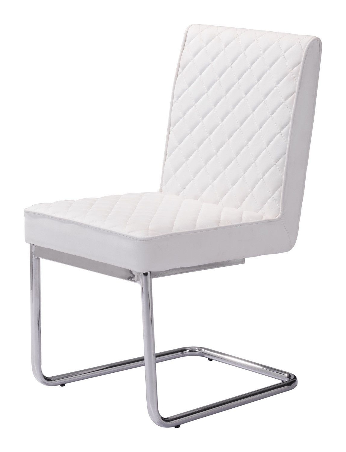 Trendy Quilted Black Dining Chairs With Quilt Armless Dining Chair In Quilted White Leatherette With Chrome (View 19 of 20)
