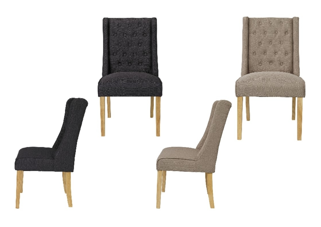 Trendy Verona Linen Style Fabric Wing Back Dining Chairs X 2 – Beige Or Regarding Charcoal Dining Chairs (View 16 of 20)