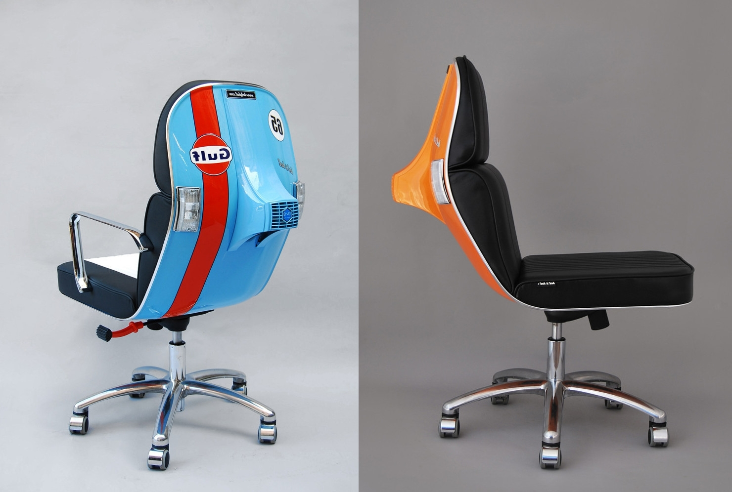 Vespa Side Chairs Intended For Newest Office Chairs Made Out Of Old Vespa Scooters / Boing Boing (View 18 of 20)