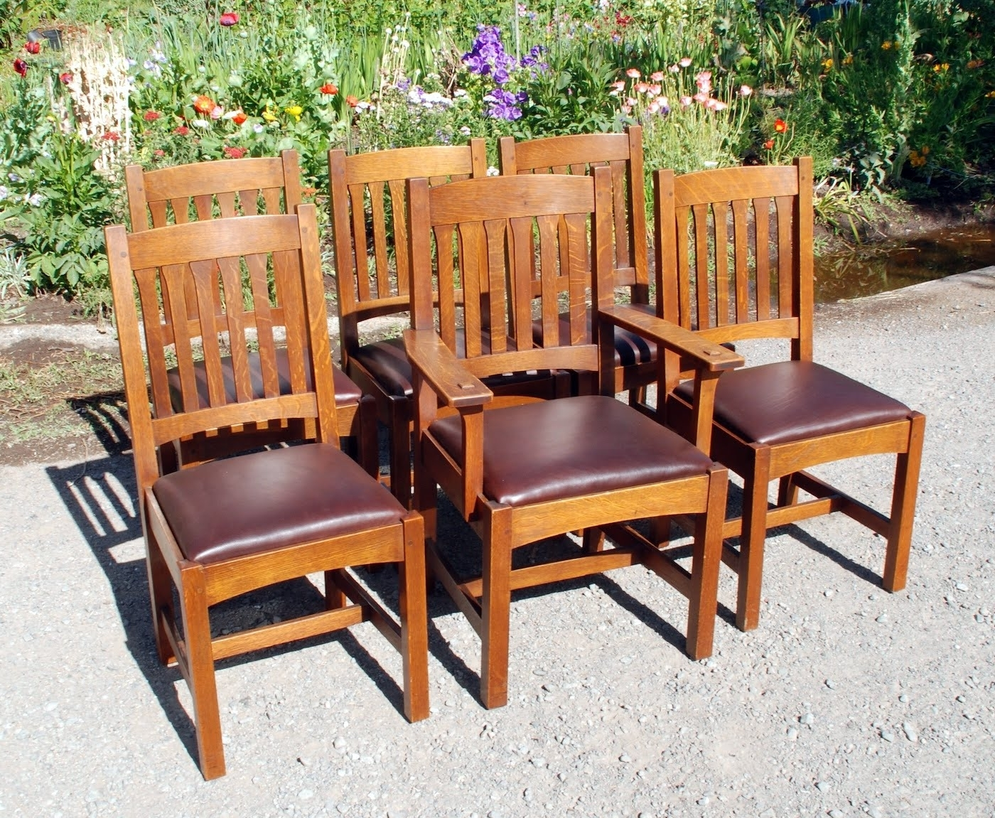 Voorhees Craftsman Mission Oak Furniture – Set Of 6 Original L In Newest Craftsman Arm Chairs (View 15 of 20)