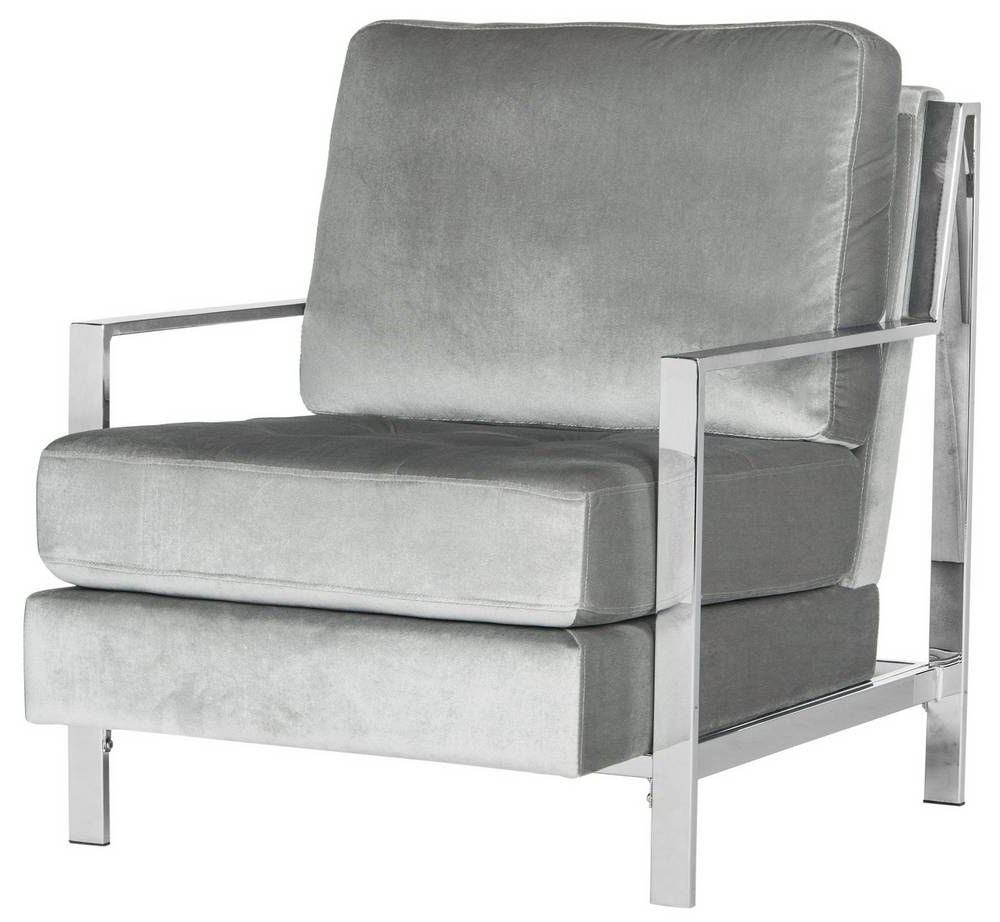 Walden Upholstered Arm Chairs Inside Well Known Walden Modern Tufted Velvet Chrome Accent Chair (View 3 of 20)