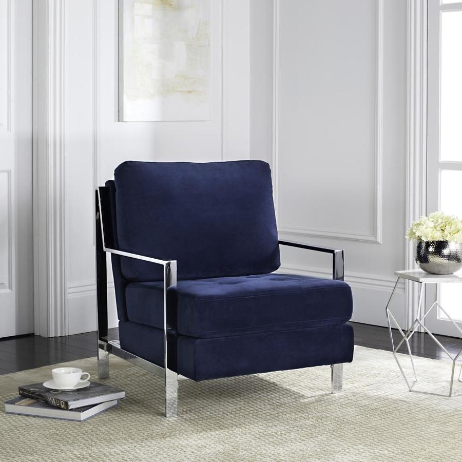 Walden Upholstered Arm Chairs Regarding Trendy Shop Safavieh Walden Casual Navy Accent Chair At Lowes (View 5 of 20)