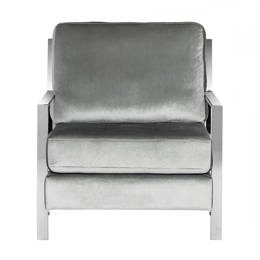 Walden Upholstered Arm Chairs With Regard To Widely Used Decor Market – Walden Modern Tufted Velvet Chrome Accent Chair (View 15 of 20)