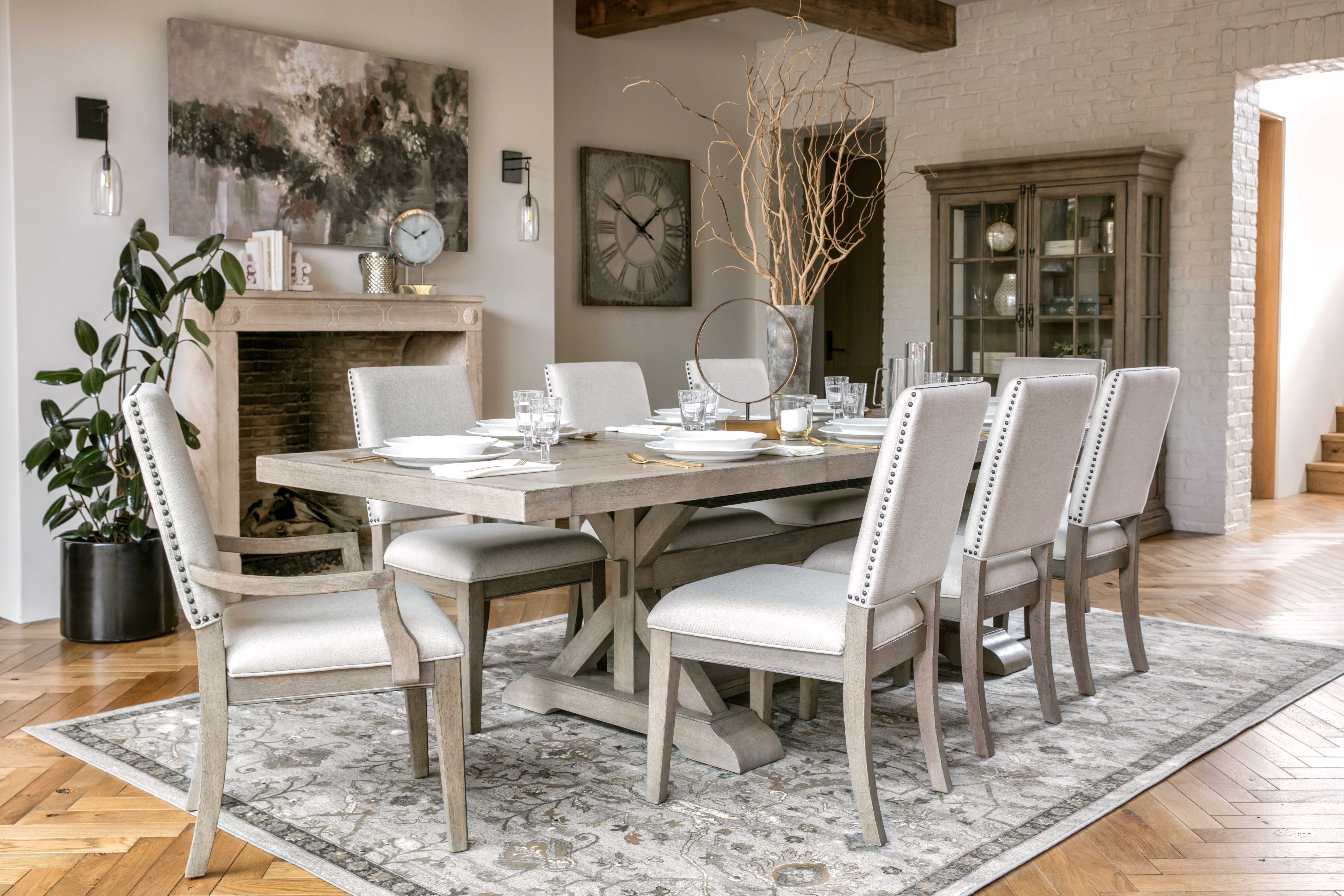 Walden Upholstered Side Chairs For Recent Walden 9 Piece Extension Dining Set (View 13 of 20)