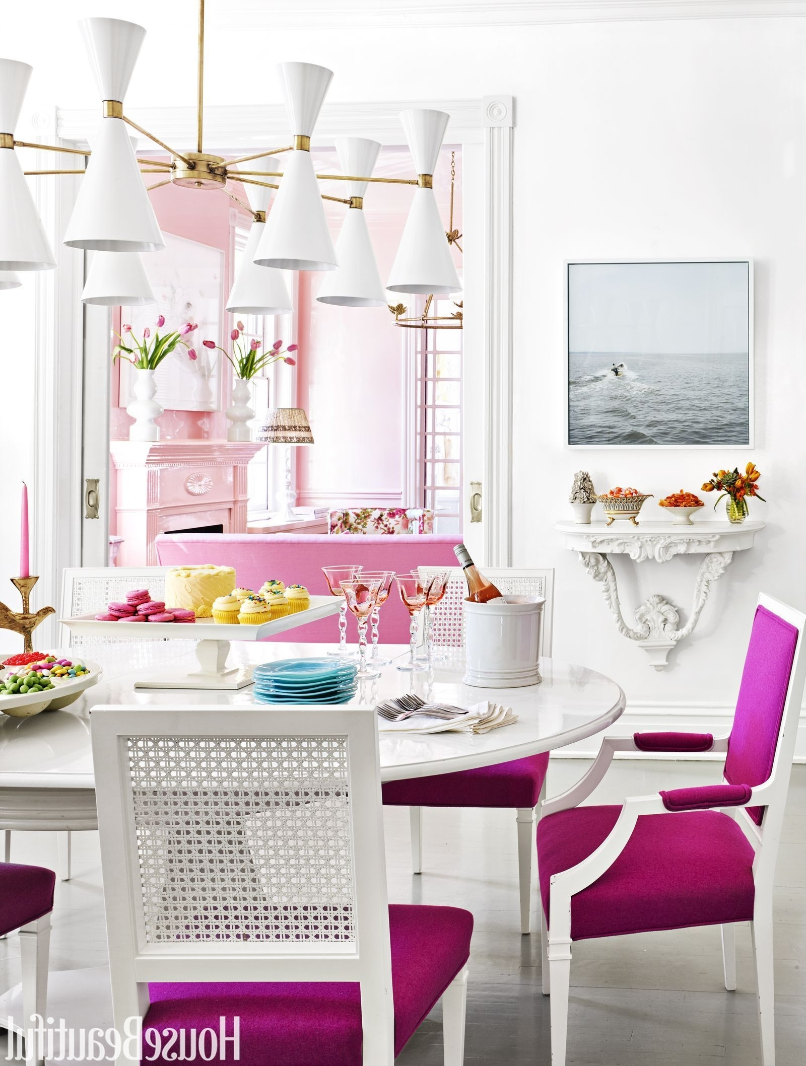 Well Known Alexa Reef Side Chairs Intended For Hot Pink Cushions – A Coat Of A High Gloss White Contrasts With (View 20 of 20)