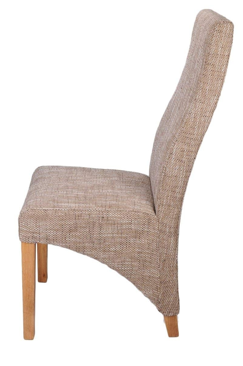 Well Known Armless Oatmeal Dining Chairs With Shankar Baxter Tweed Effect Oatmeal Upholstered Dining Chairs, Set (View 4 of 20)