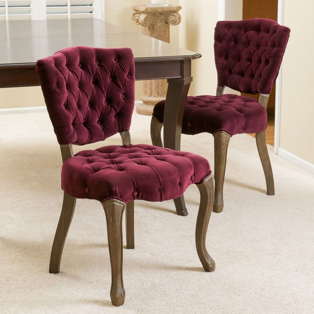 Well Known Christopher Knight Home Bates Tufted Dark Purple Fabric Dining With Chandler Fabric Side Chairs (View 18 of 20)
