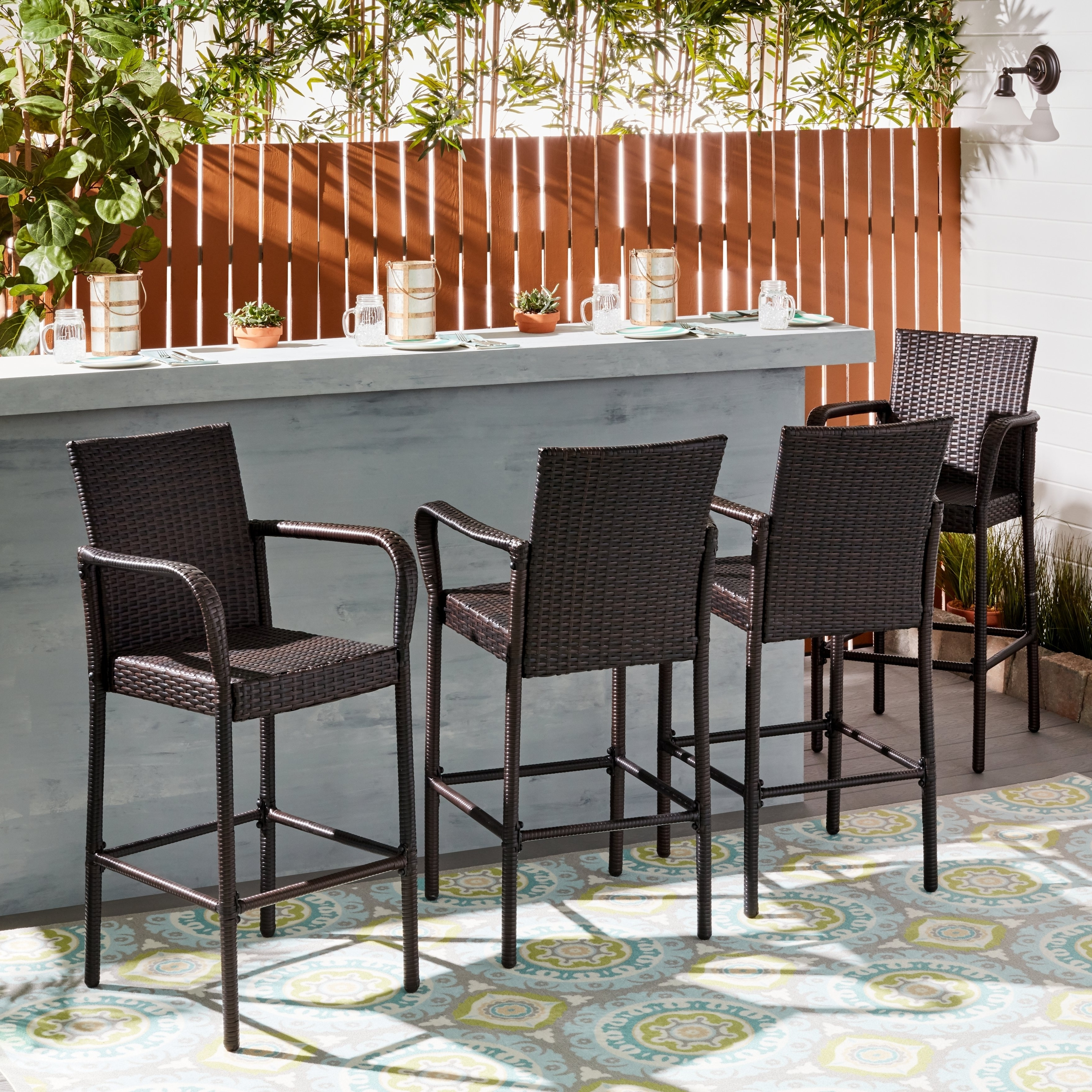 Well Known Delfina Side Chairs Regarding Delfina Outdoor Wicker Barstool (set Of 4)christopher Knight (View 10 of 20)
