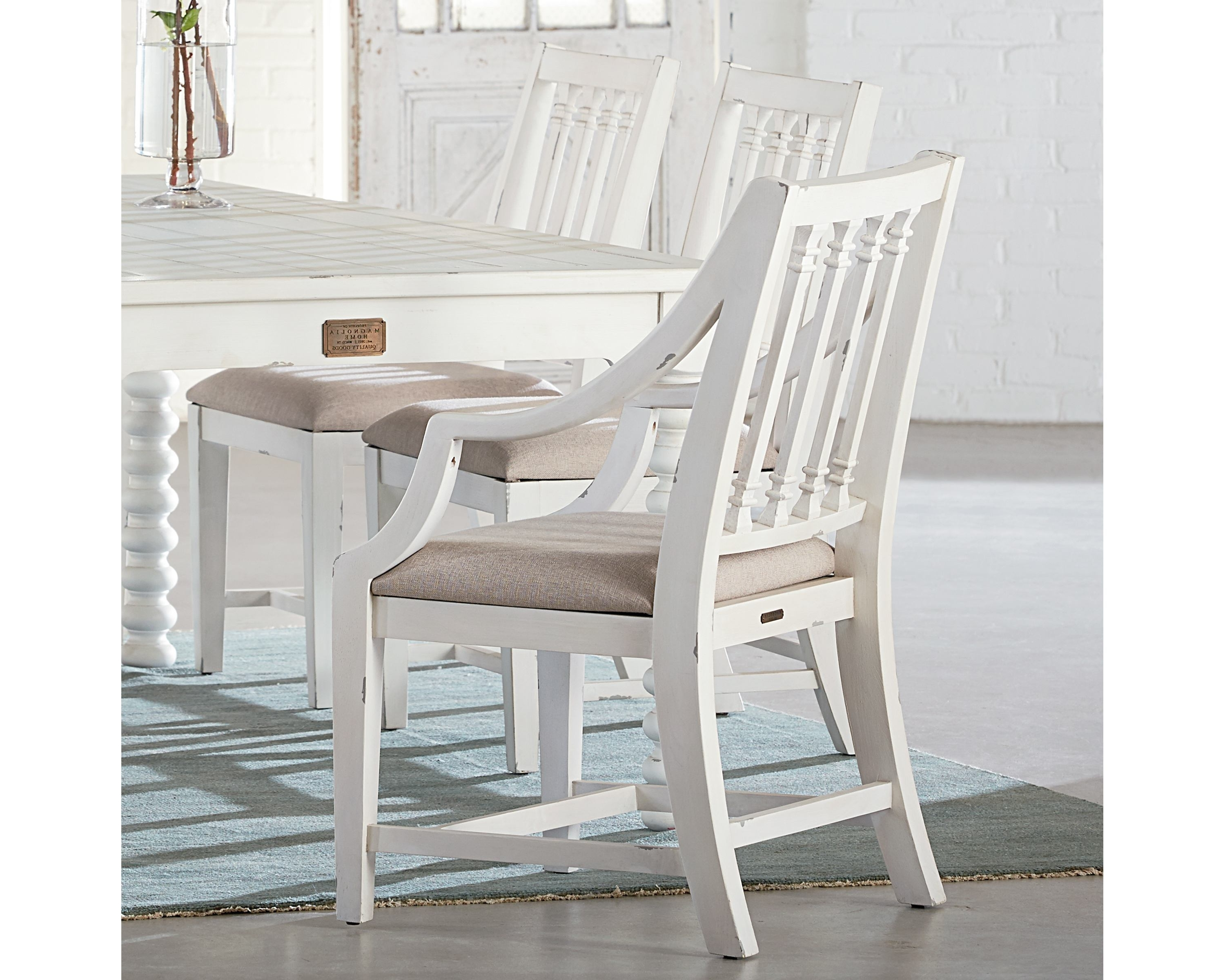 Featured Photo of Magnolia Home Revival Jo's White Arm Chairs