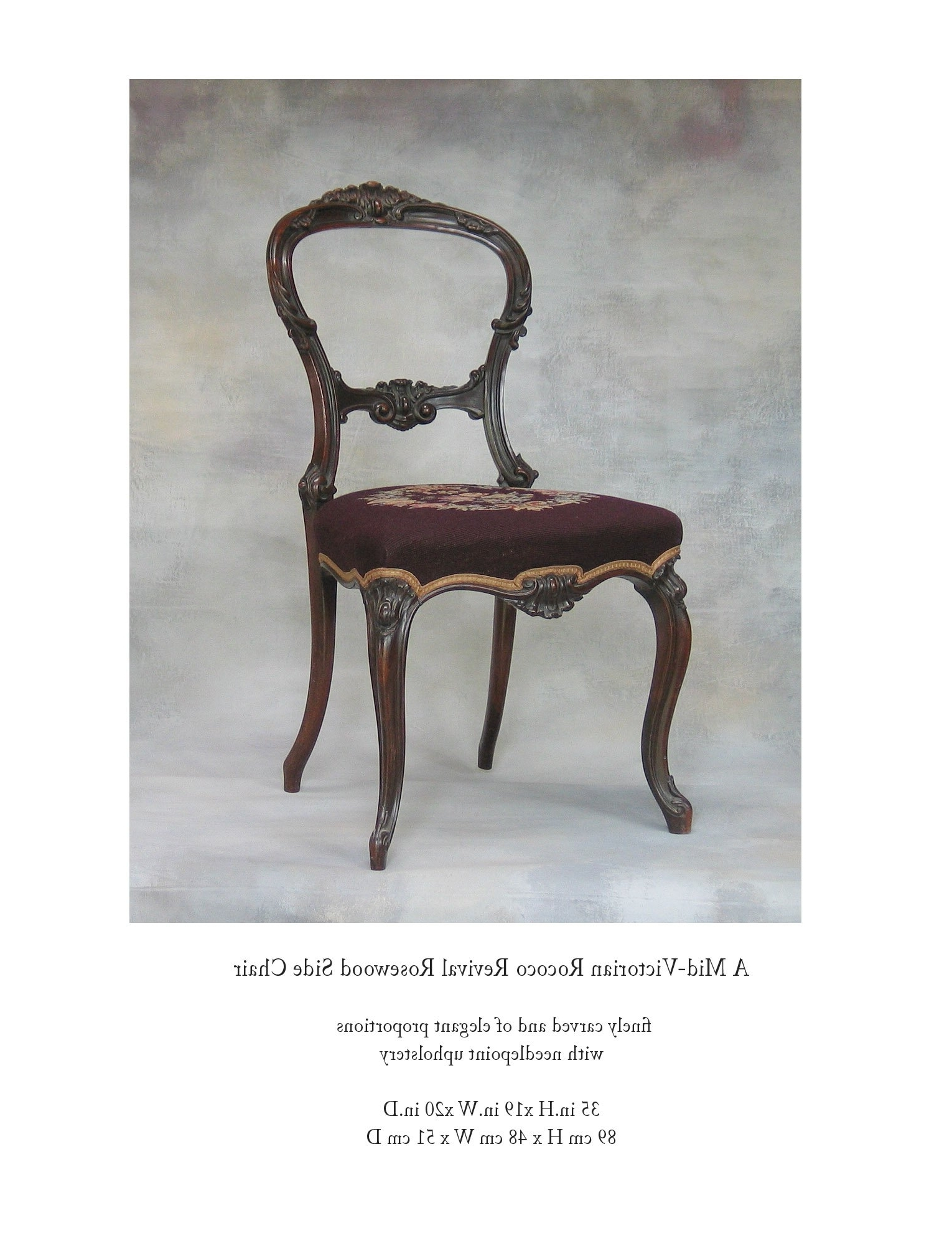 Well Known Mid Victorian Rocco Revival Rosewood Side Chair With Needlepoint Intended For Rocco Side Chairs (View 20 of 20)