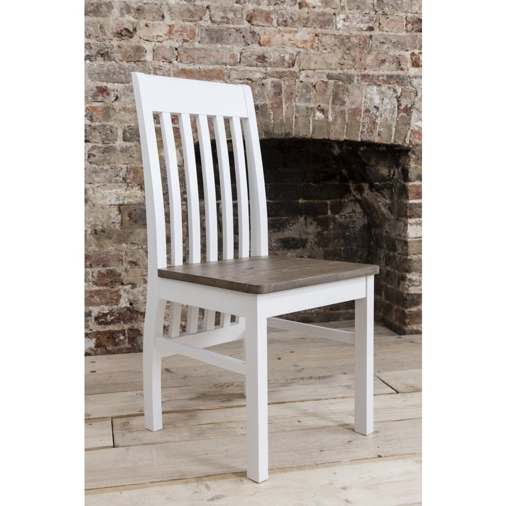 Well Known Pair Of Hever Dining Chairs In White & Dark Pine (View 8 of 20)