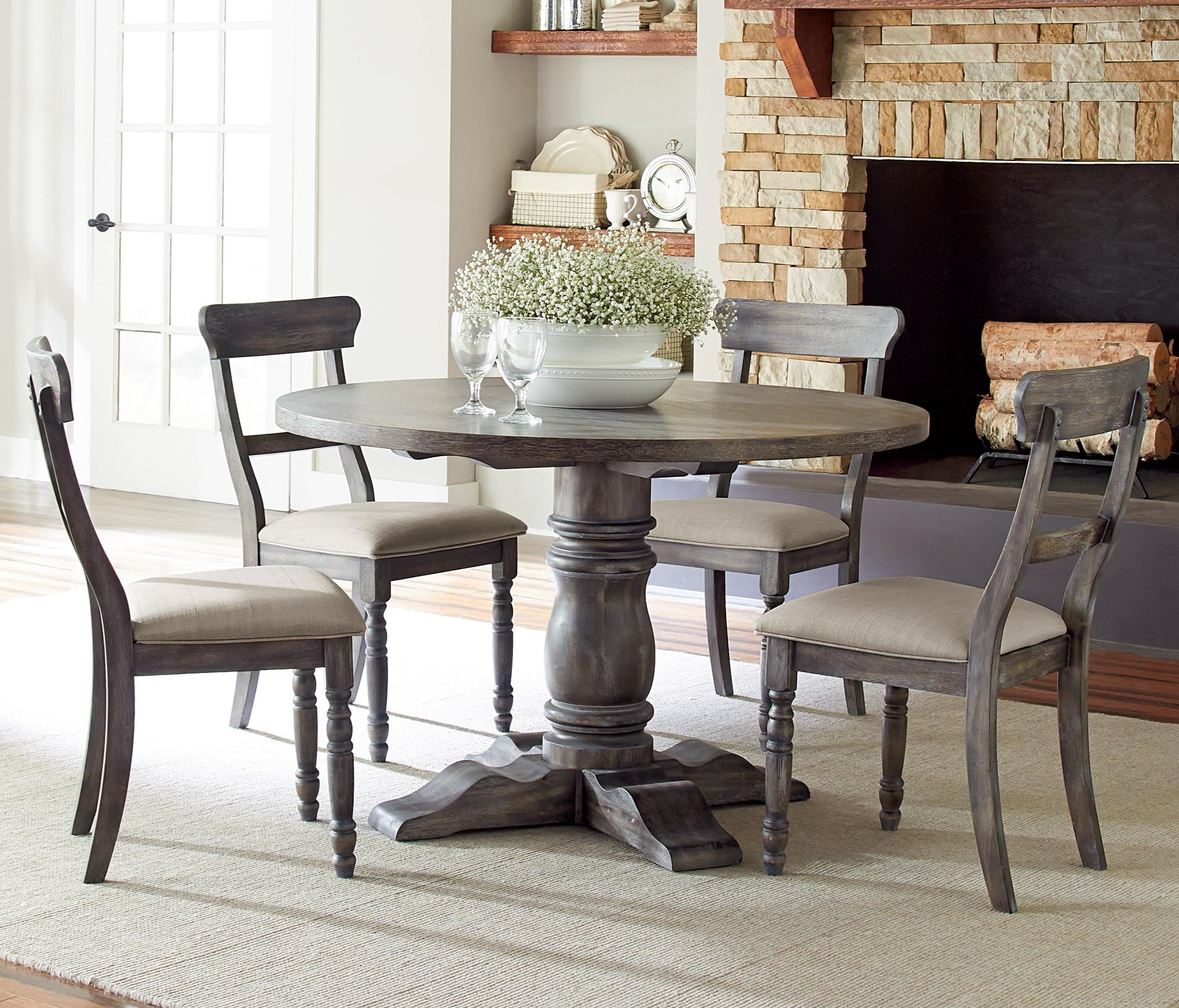 Well Known Progressive Furniture Muses 5 Piece Round Dining Table Set With Pertaining To Lindy Dove Grey Side Chairs (View 20 of 20)