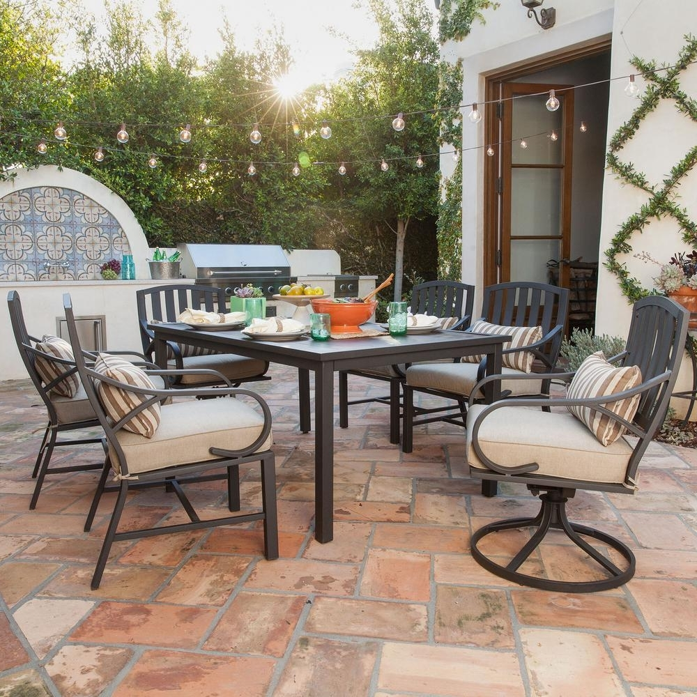 Well Known Royal Garden Norman 7 Piece Outdoor Dining Set With Beige Cushions Regarding Garten Storm Chairs With Espresso Finish Set Of (View 8 of 20)